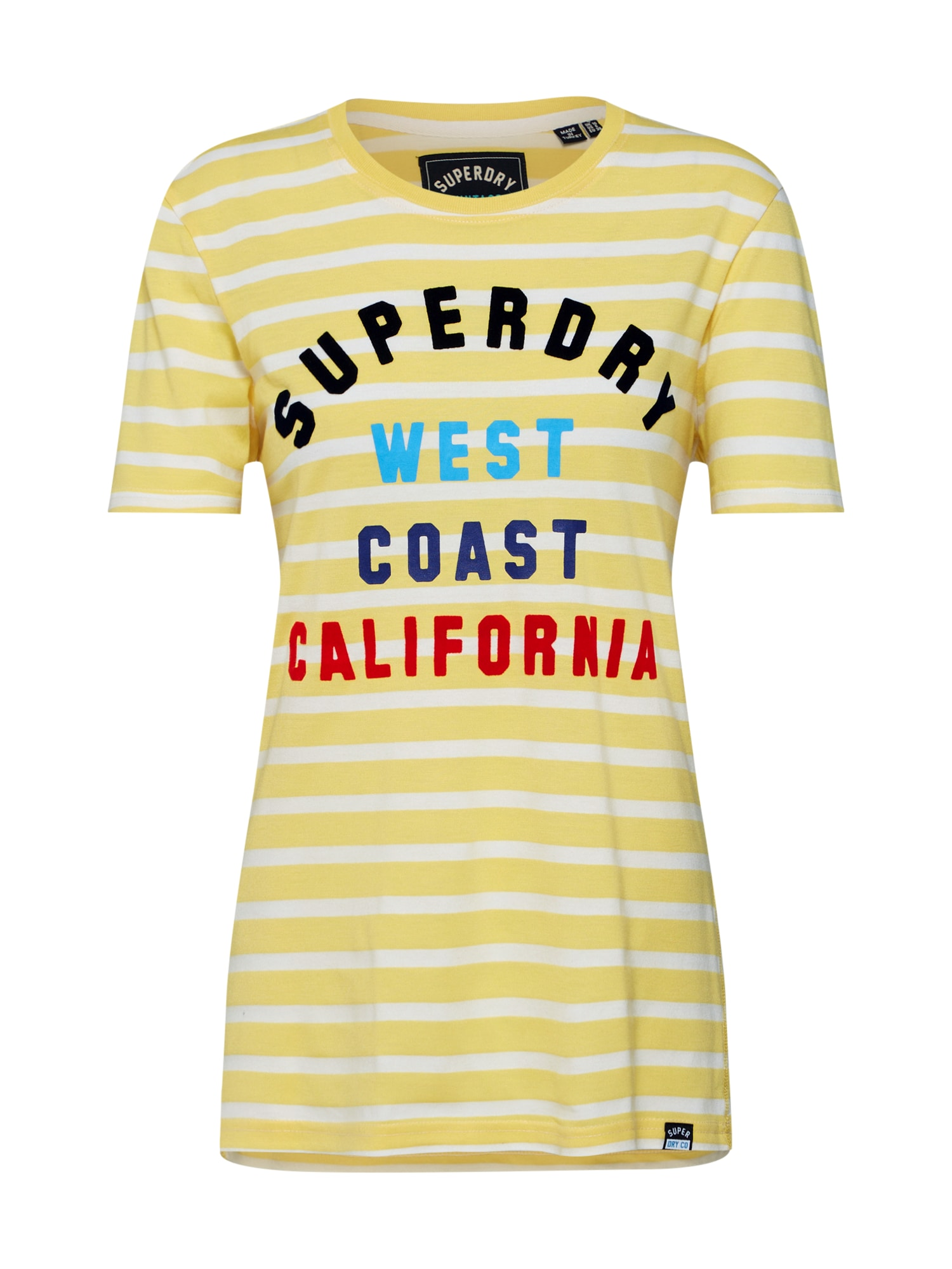 Tričko West Coast Stripe Entry limone mix barev bílá Superdry