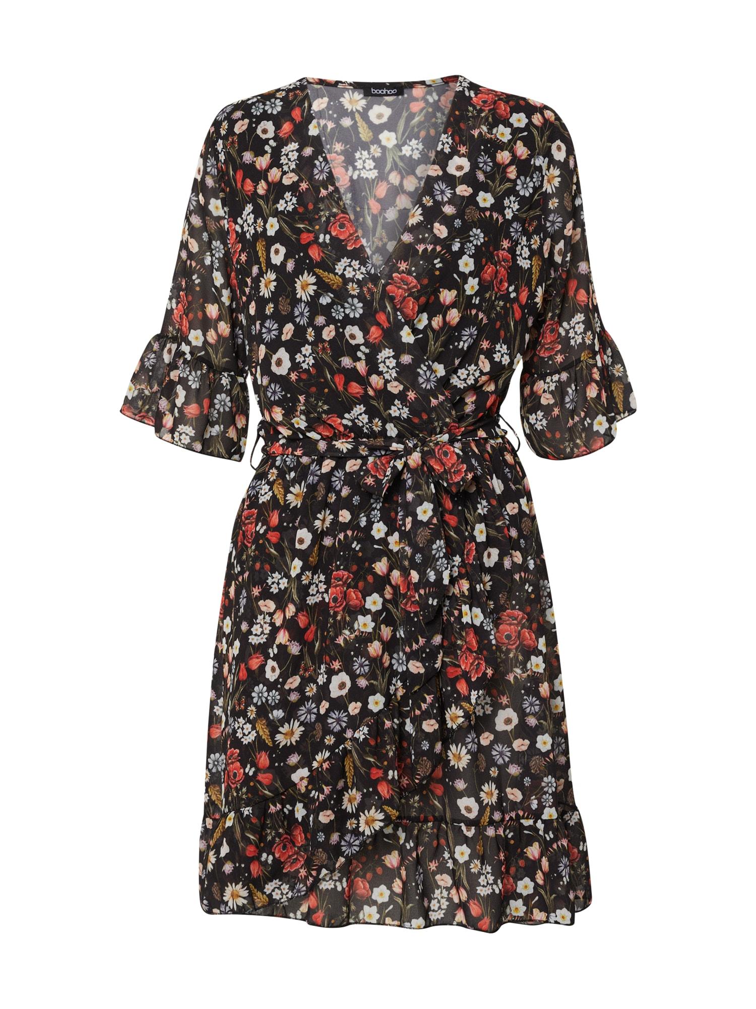 Boohoo Vasarinė suknelė juoda / mišrios spalvos