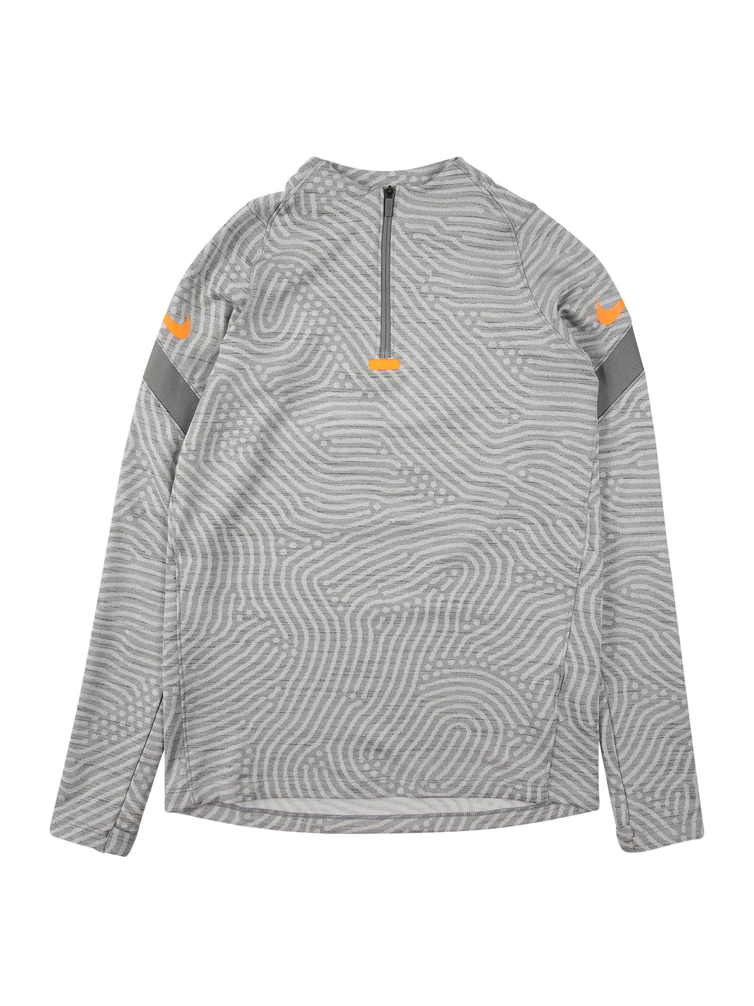 NIKE Sportovní mikina 'Strike'  oranžová / světle šedá / šedý melír / tmavě šedá