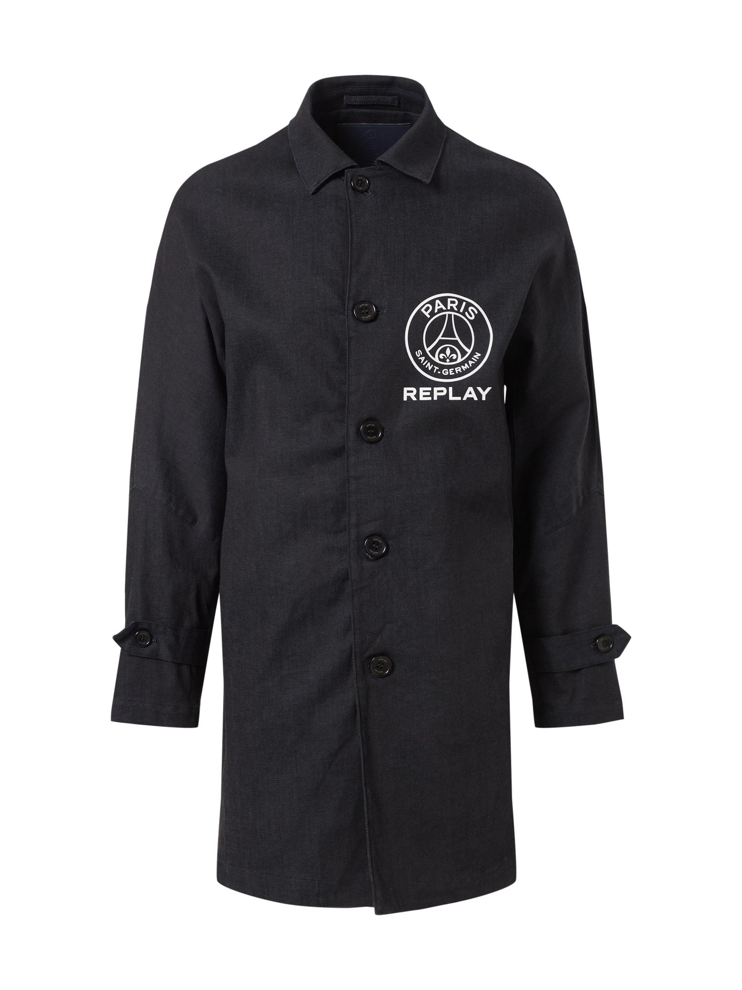 REPLAY Demisezoninis paltas tamsiai mėlyna / balta