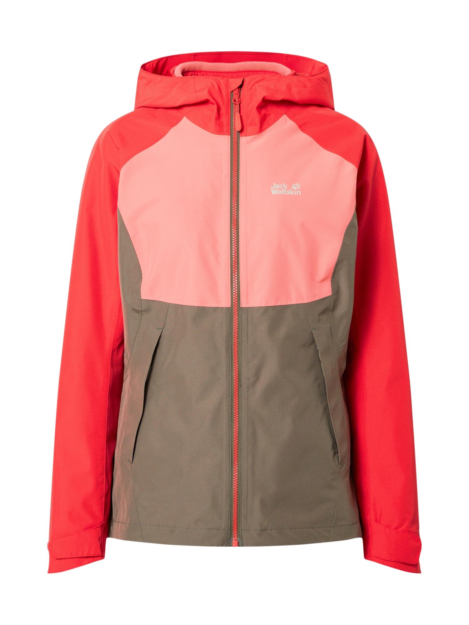 JACK WOLFSKIN Sportovní bunda 'Mount Isa 3IN1'  červená / růžová / šedá
