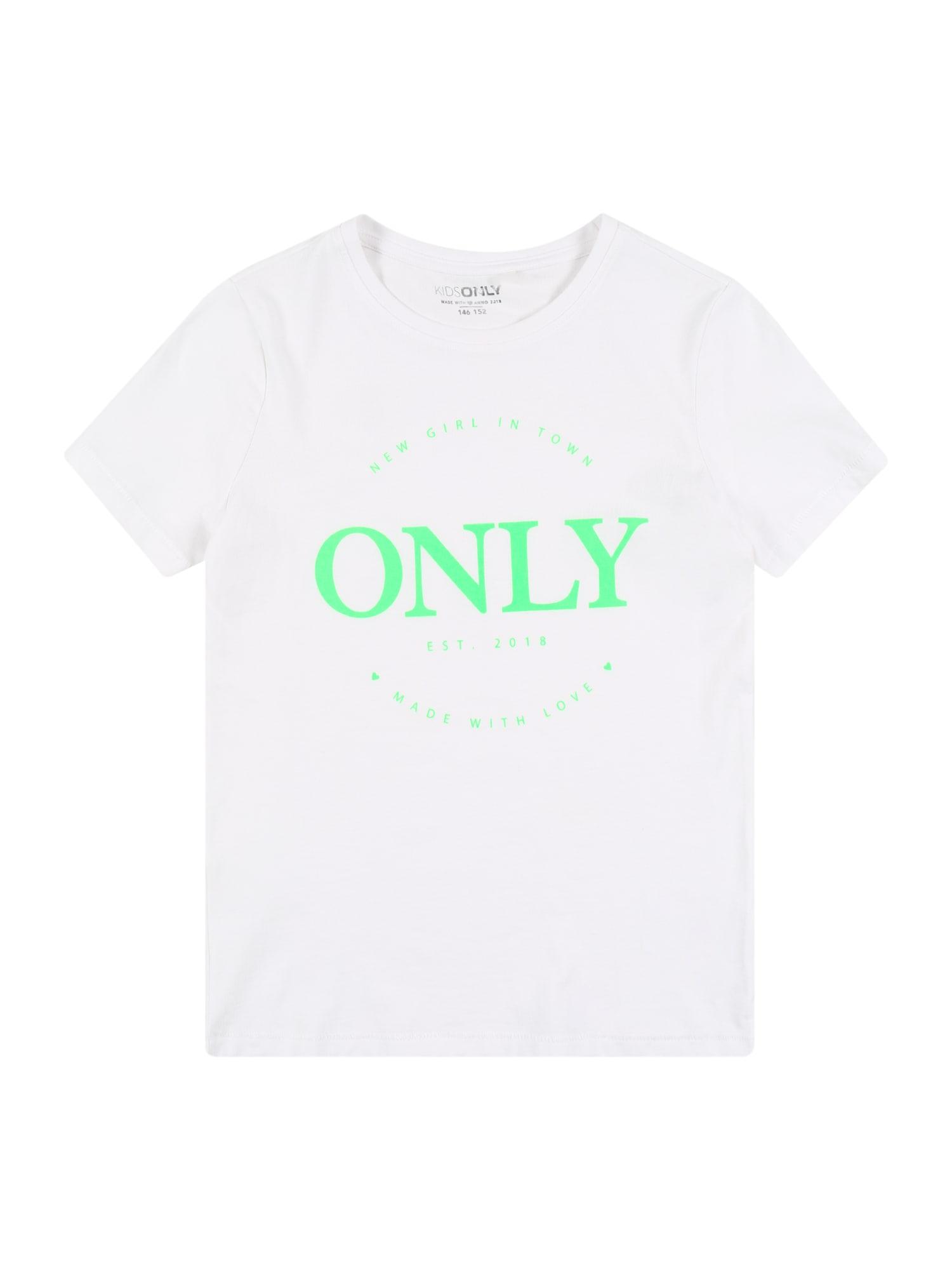 KIDS ONLY Marškinėliai neoninė žalia / balta