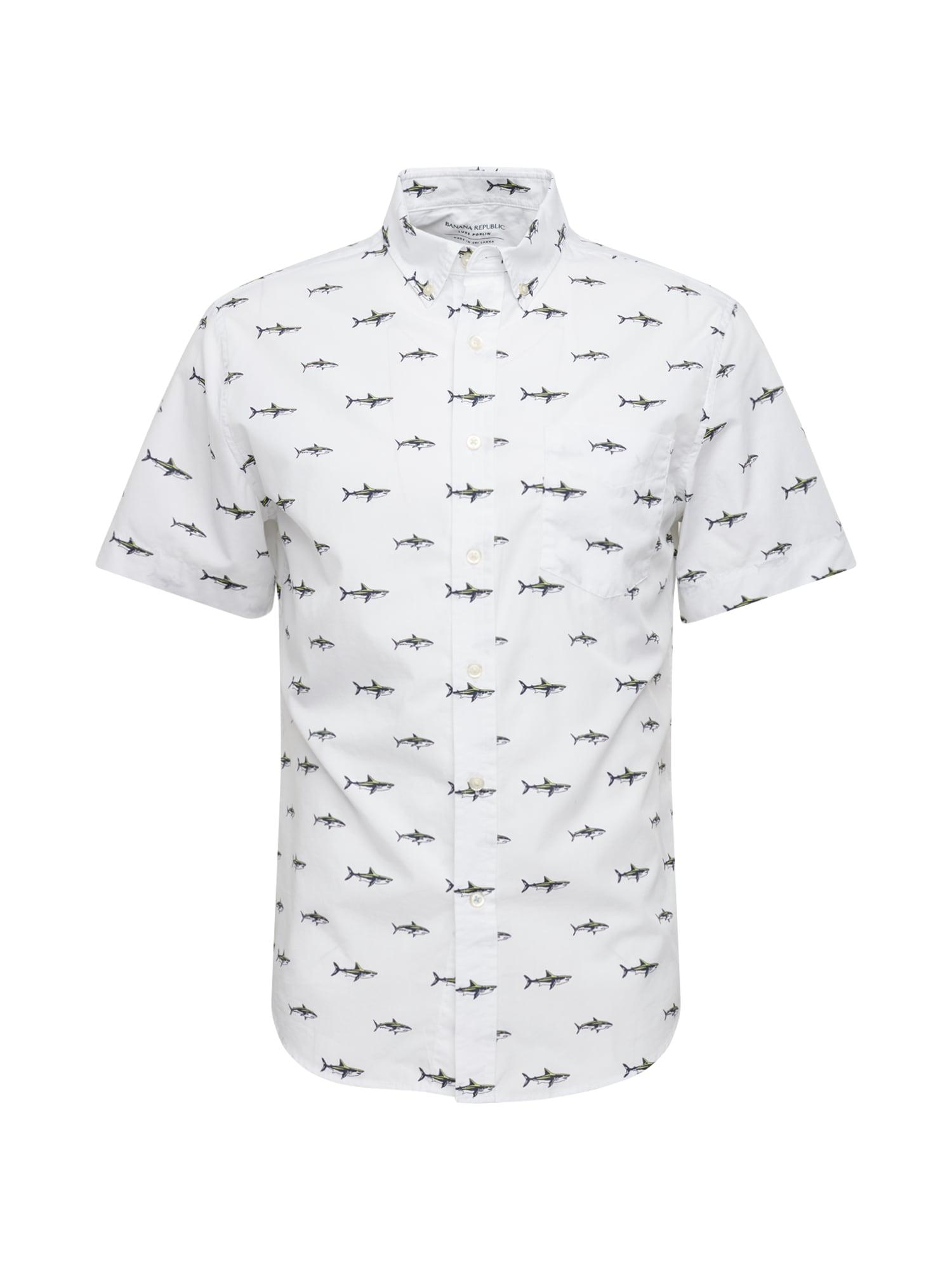Banana Republic Dalykiniai marškiniai 'SL SS LP SHARK PRINT' balta