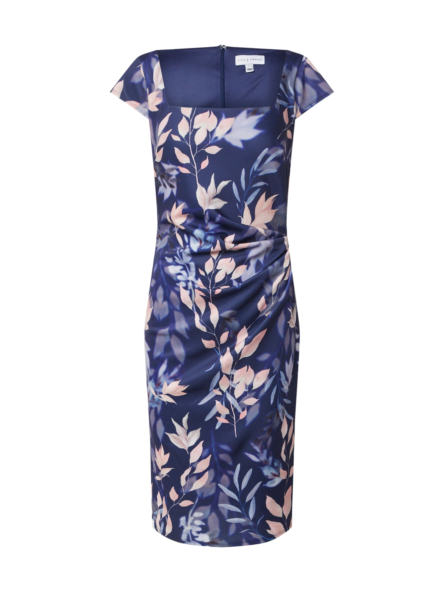 Dorothy Perkins Šaty 'LILLIE AND FRANK NAVY FLORAL SQUARE NECK DRESS'  zmiešané farby / námornícka modrá