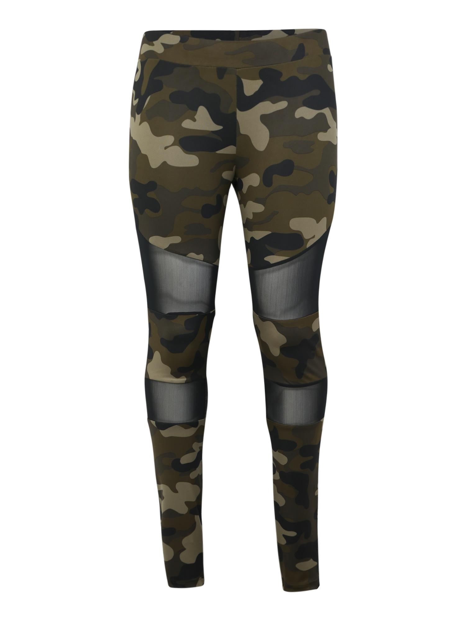 Urban Classics Curvy Legíny 'Ladies Camo Tech Mesh Leggings'  béžová / hnedé / zelená