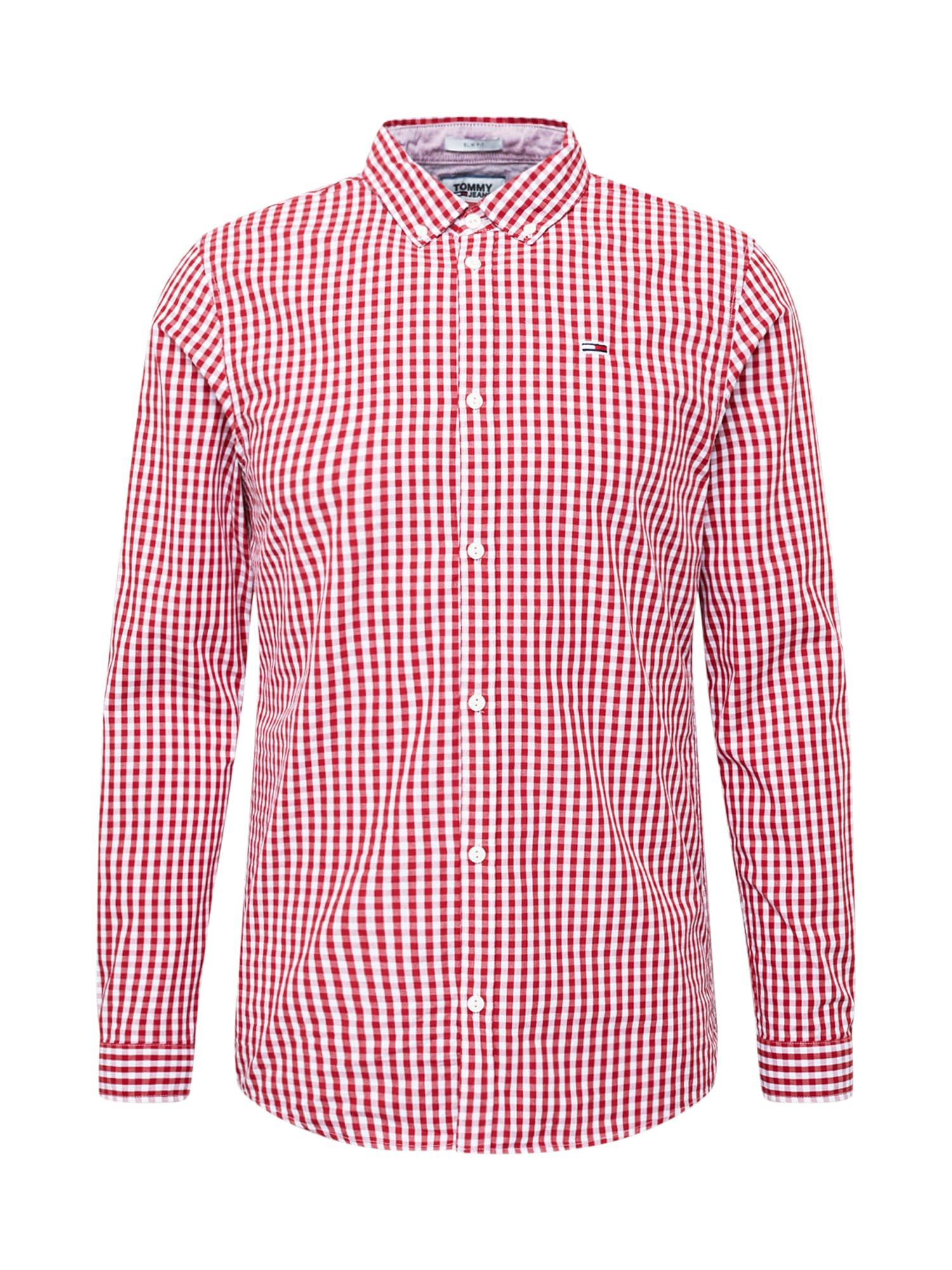 Tommy Jeans Košeľa  biela / vínovo červená