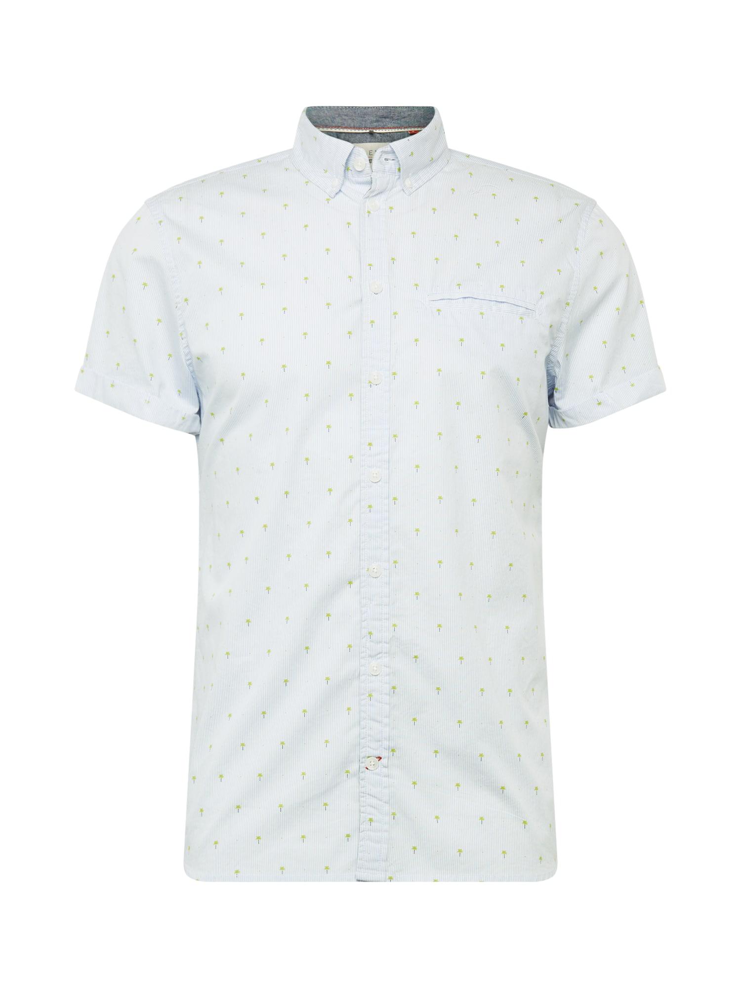 BLEND Dalykiniai marškiniai balta / šviesiai mėlyna