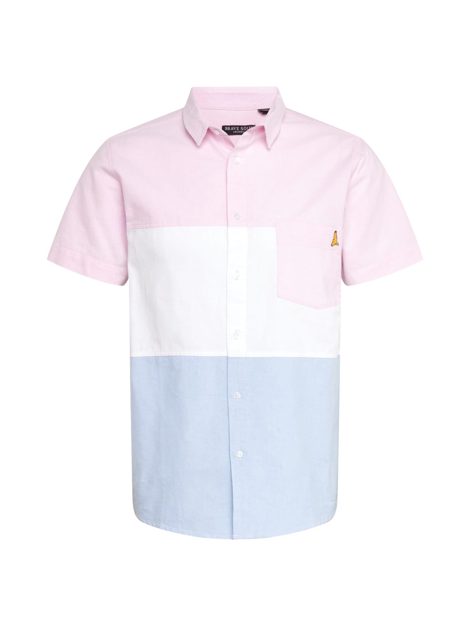 BRAVE SOUL Dalykiniai marškiniai šviesiai mėlyna / rožių spalva / balta