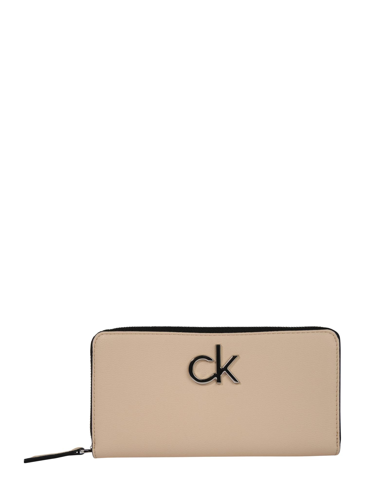 Calvin Klein Piniginė 'RE-LOCK ZIPAROUND LG' smėlio