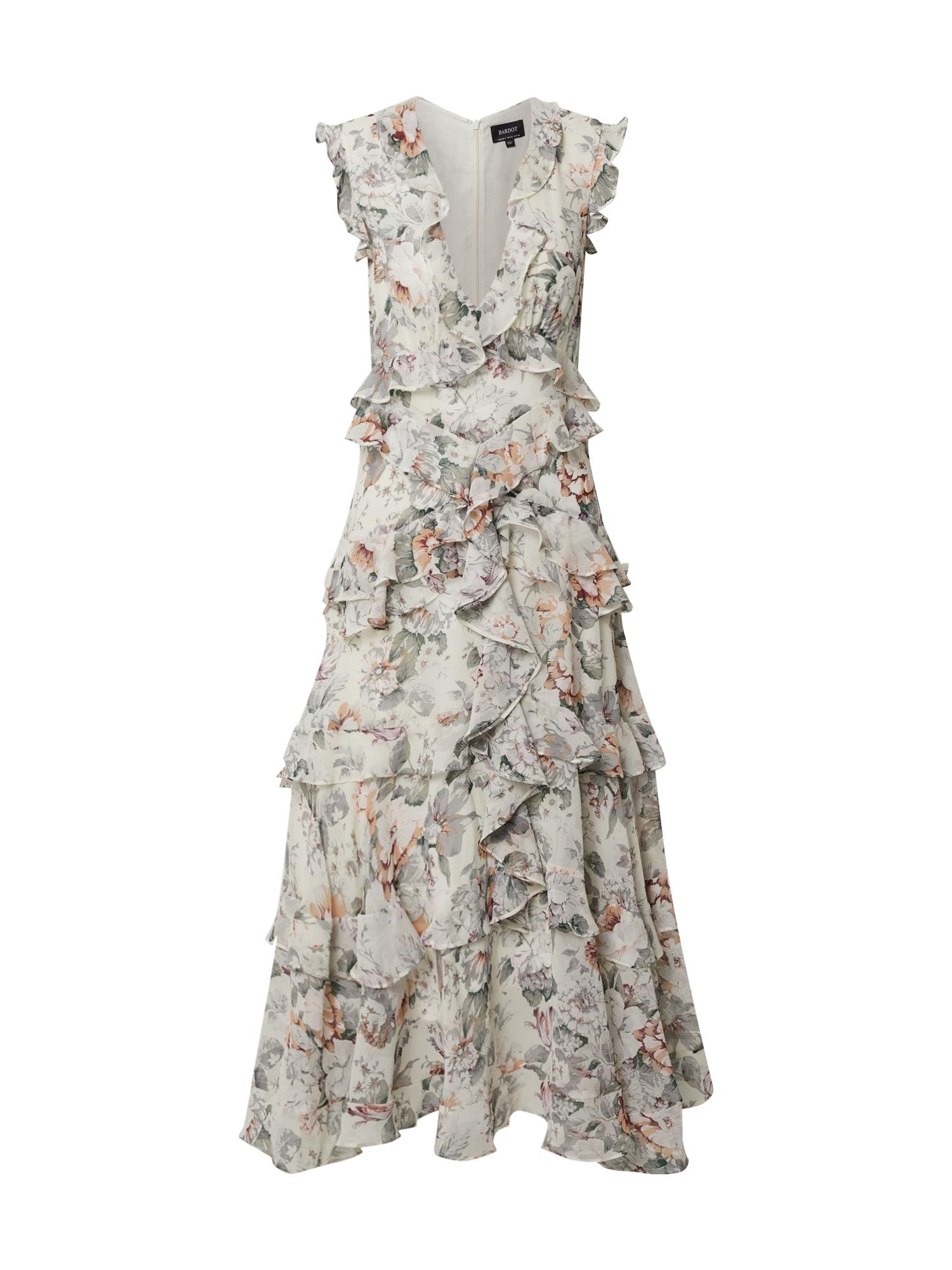 Bardot Vakarinė suknelė 'NELLY FLORAL DRESS' smėlio / rusvai žalia / abrikosų spalva