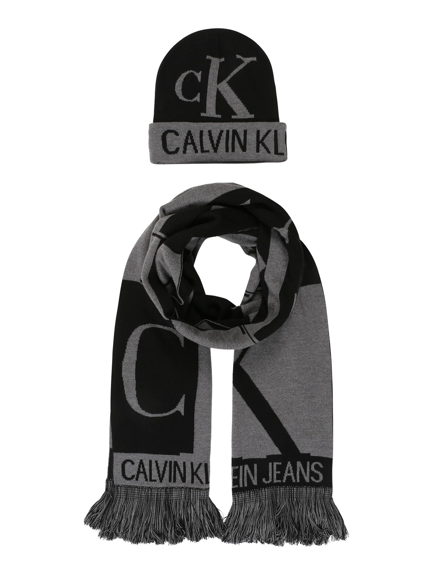 Calvin Klein Jeans Megzta kepurė 'J MIRROR MONOGRAM SCARF + BEANIE' juoda / balta