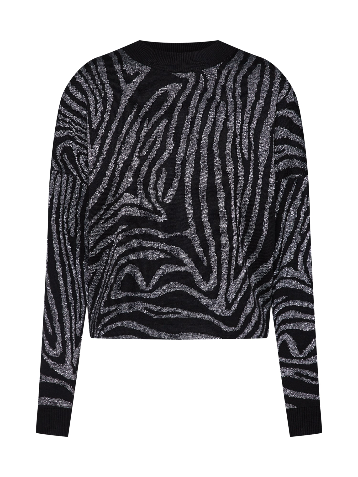 Svetr Zebra lurex print jumper černá stříbrná Mint&berry