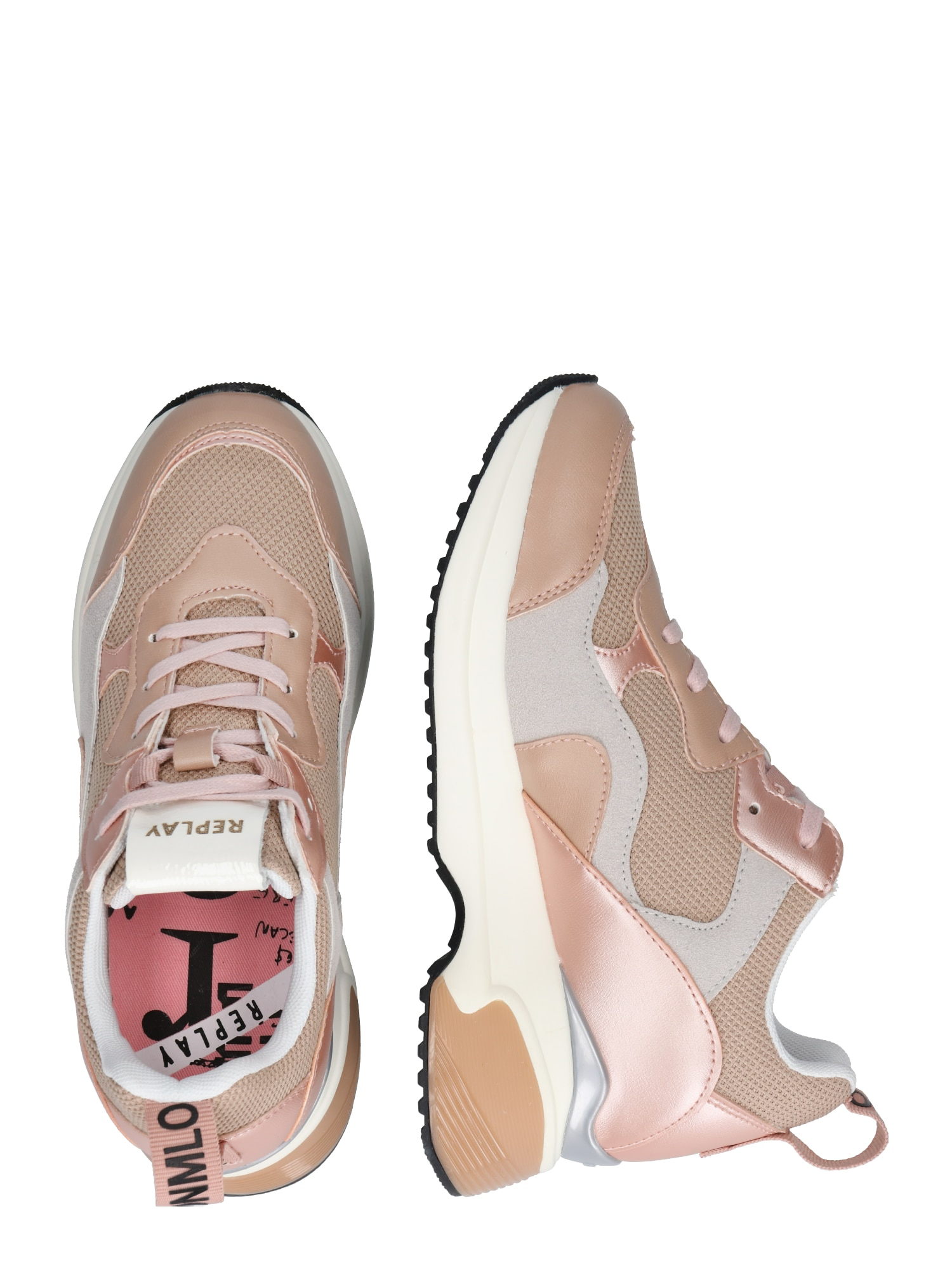 REPLAY, Damen Sneakers laag THEME, nude / rosa / wit