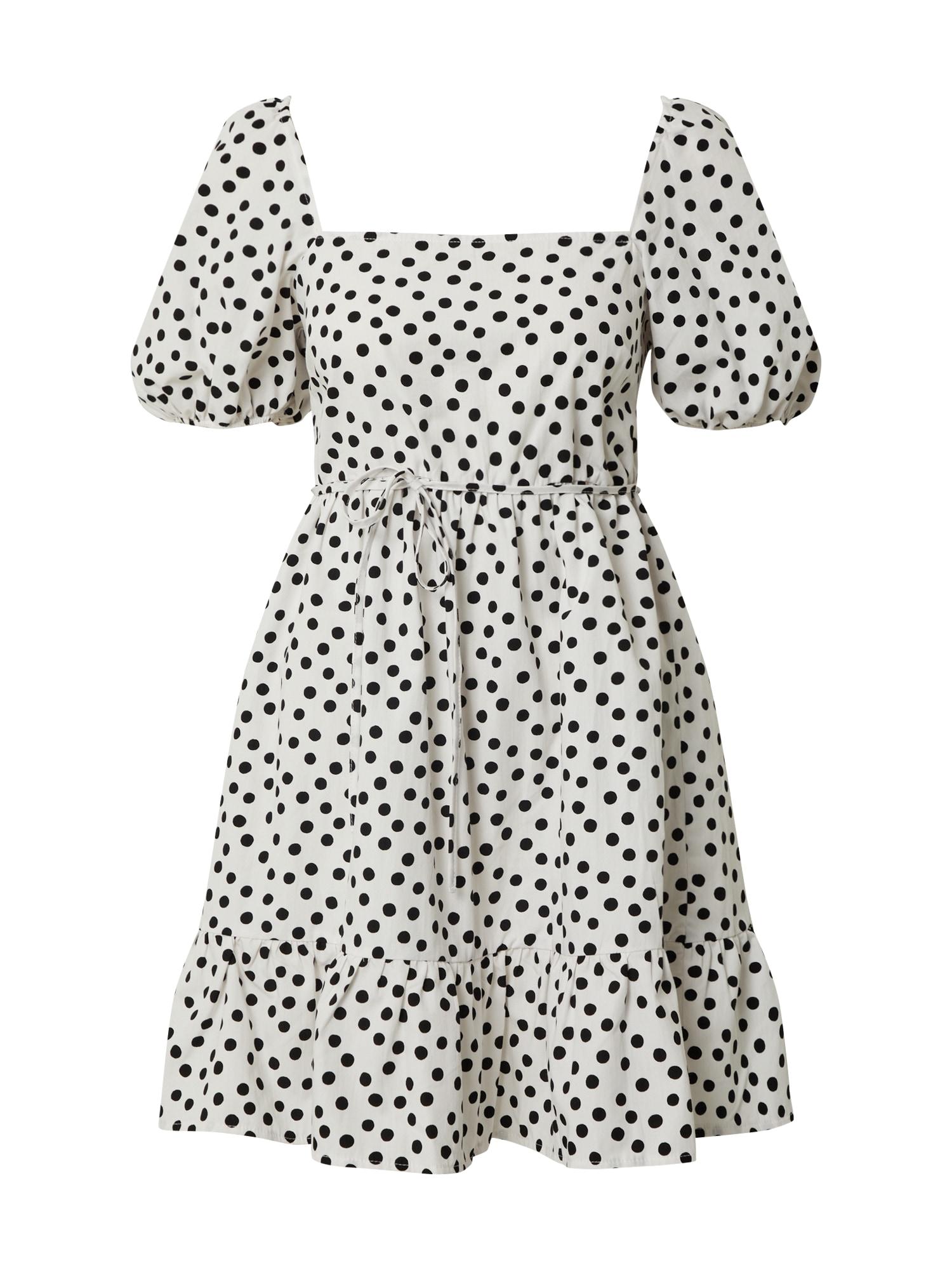 Miss Selfridge Vasarinė suknelė 'IVORY SPOT POP SMOCK' dramblio kaulo / juoda