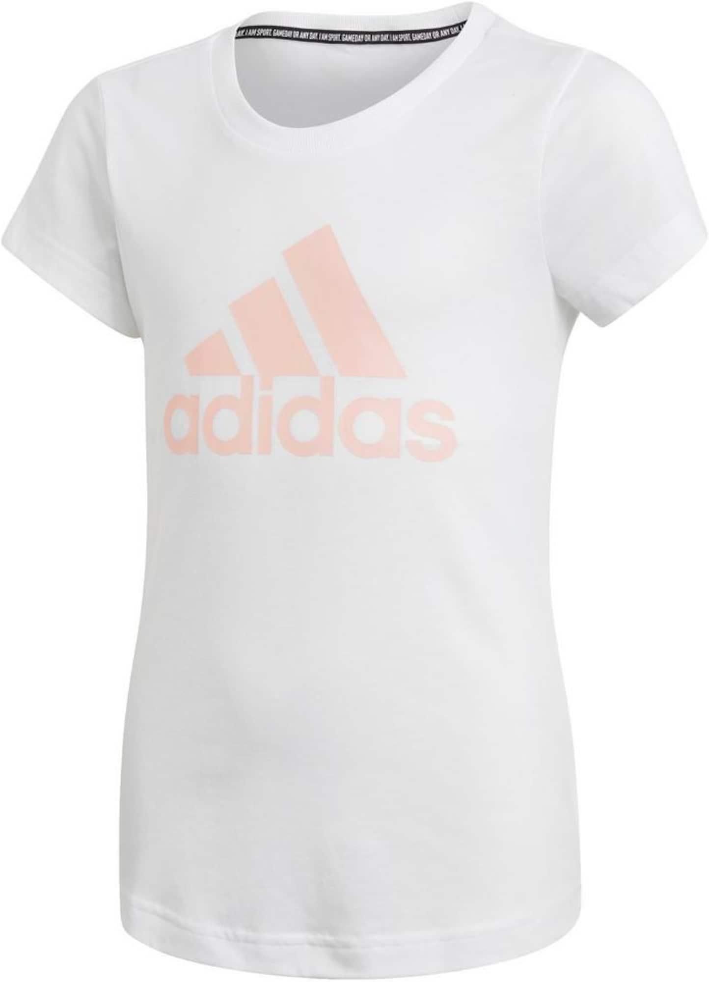 ADIDAS PERFORMANCE Sportiniai marškinėliai balta / pastelinė rožinė