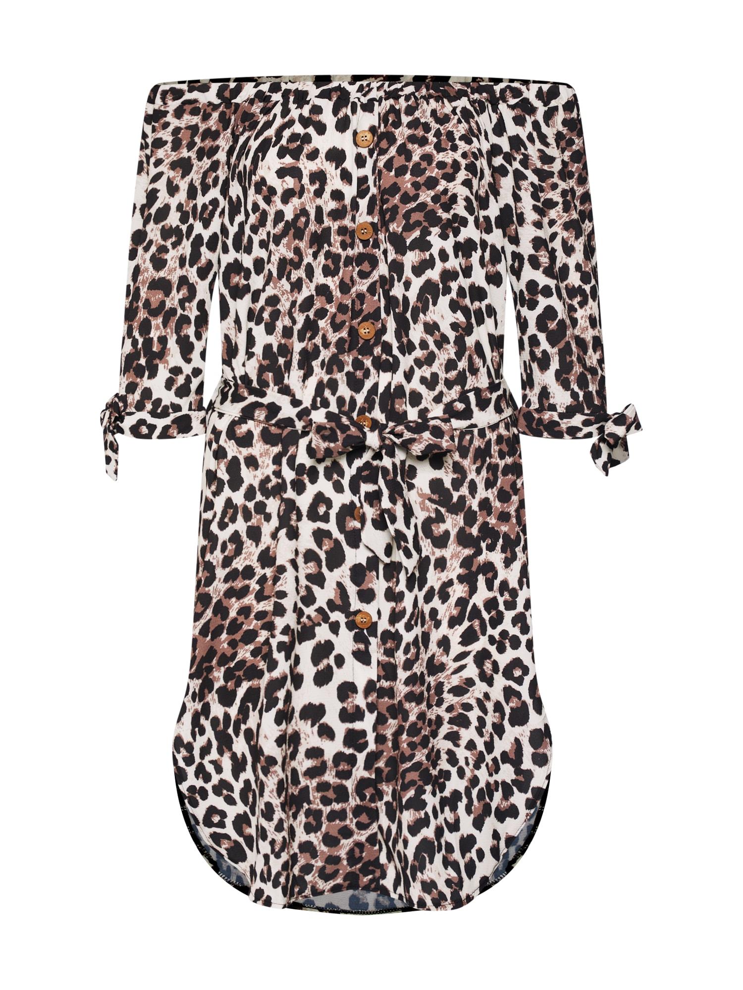 Letní šaty béžová hnědá černá Mela London