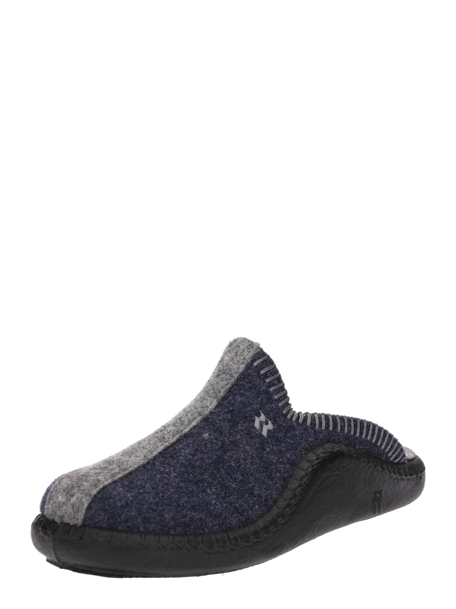 Pantofle Mokasso námořnická modř šedá ROMIKA