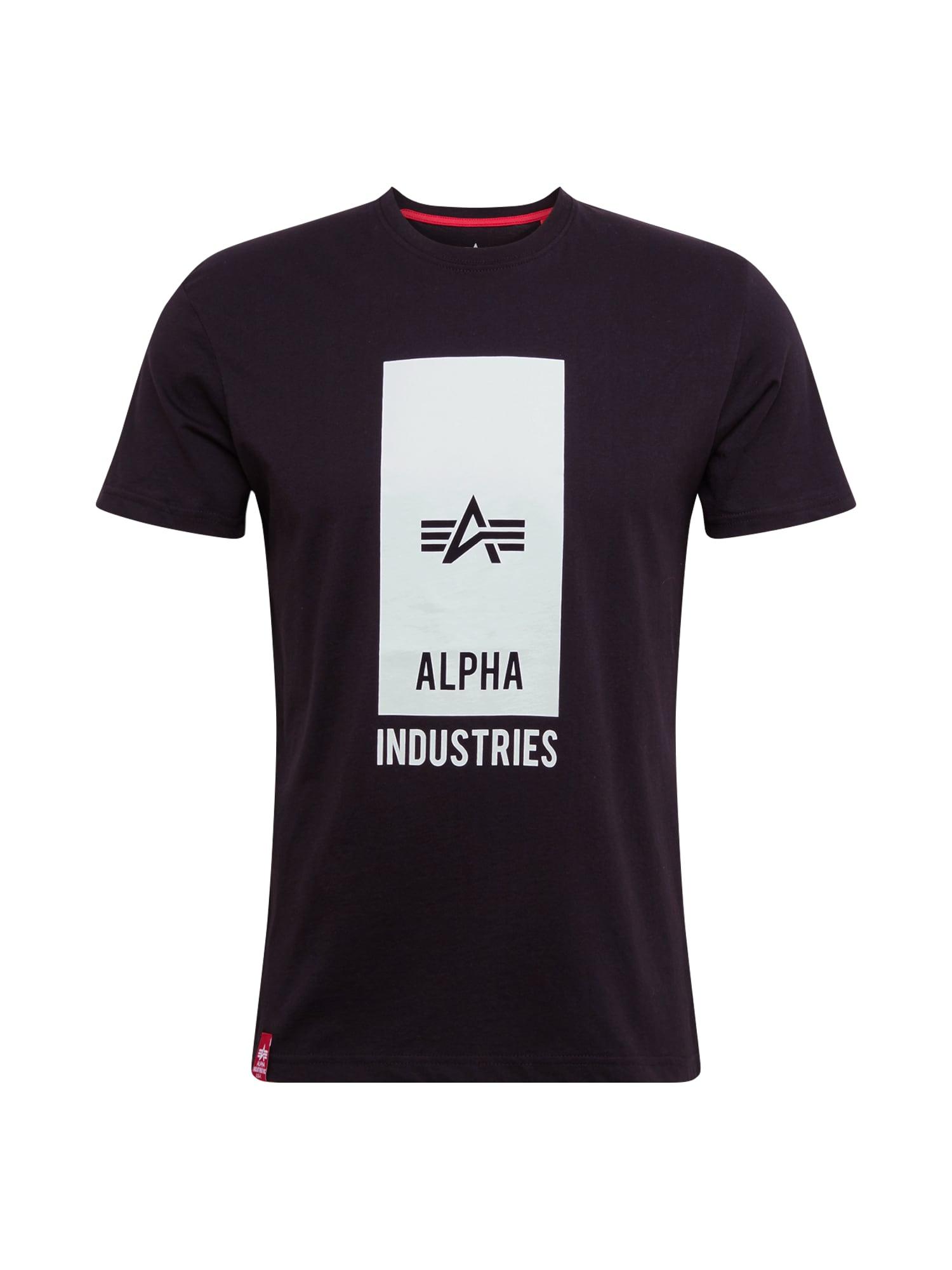 ALPHA INDUSTRIES Marškinėliai juoda / balta / pilka