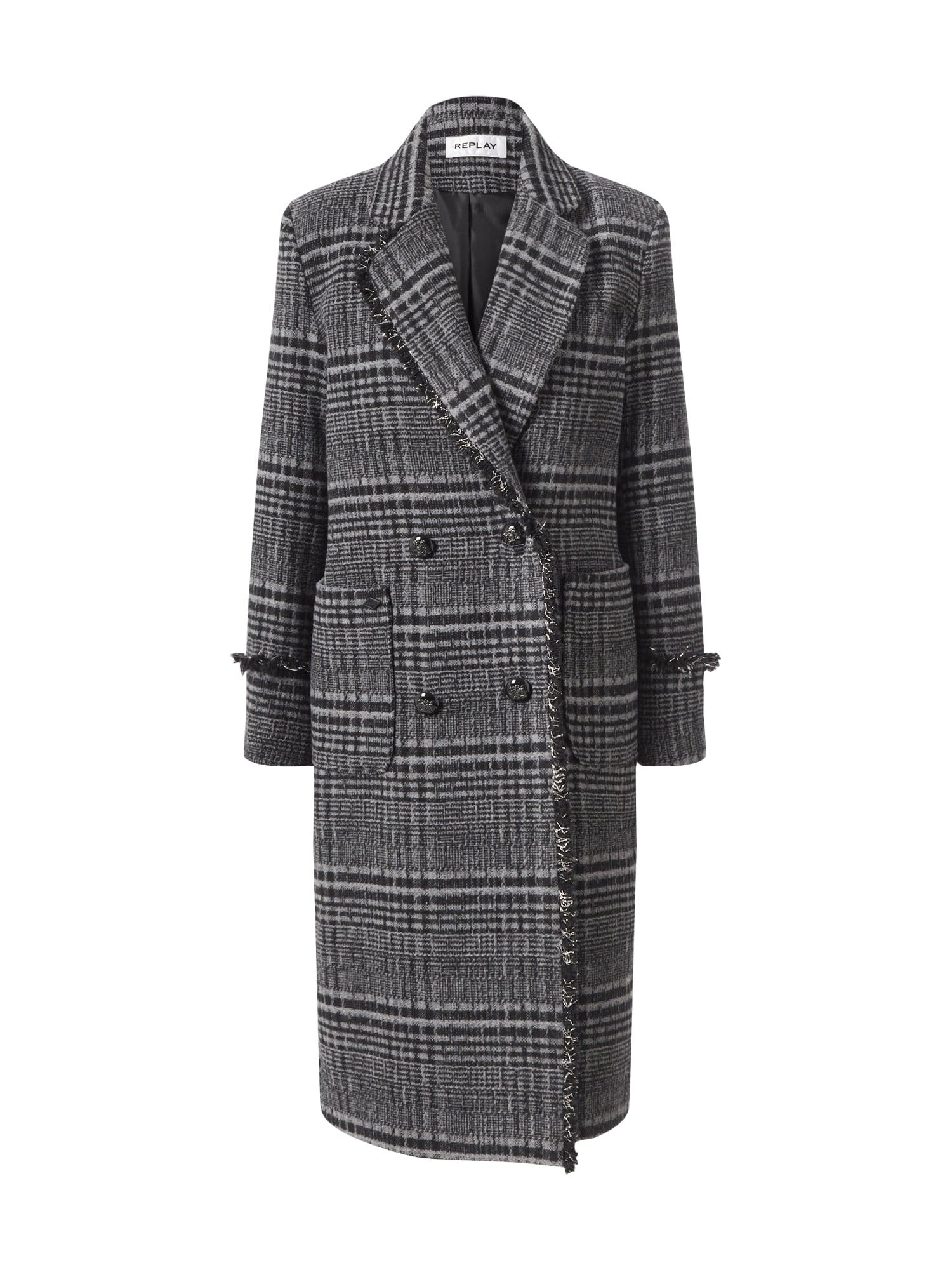 REPLAY Demisezoninis paltas juoda / pilka