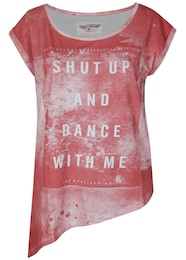 trueprodigy Damen T-Shirt Shut up rot,weiß | 04057124023961