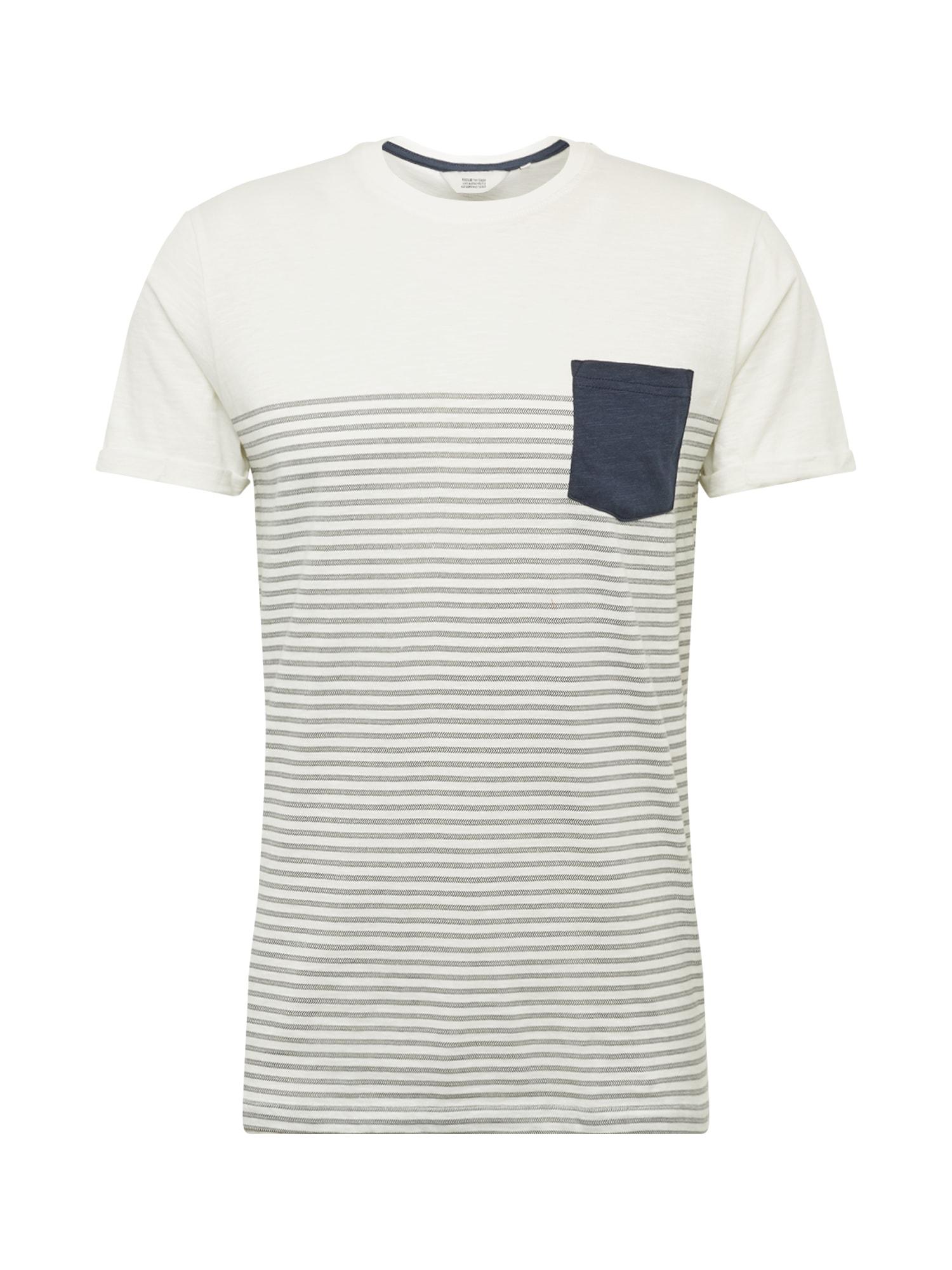 !Solid Marškinėliai balta / tamsiai mėlyna