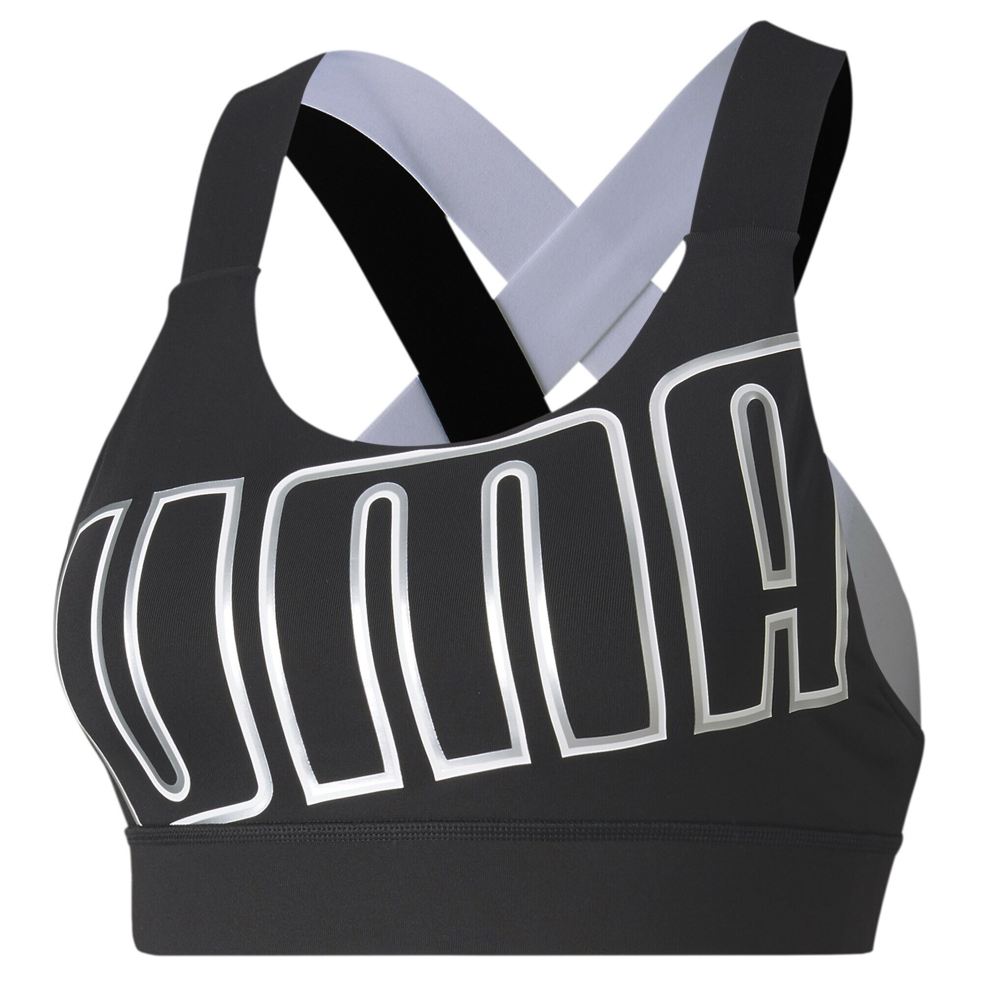 PUMA Sportinė liemenėlė 'Feel It Bra M' sidabras / pilka / juoda