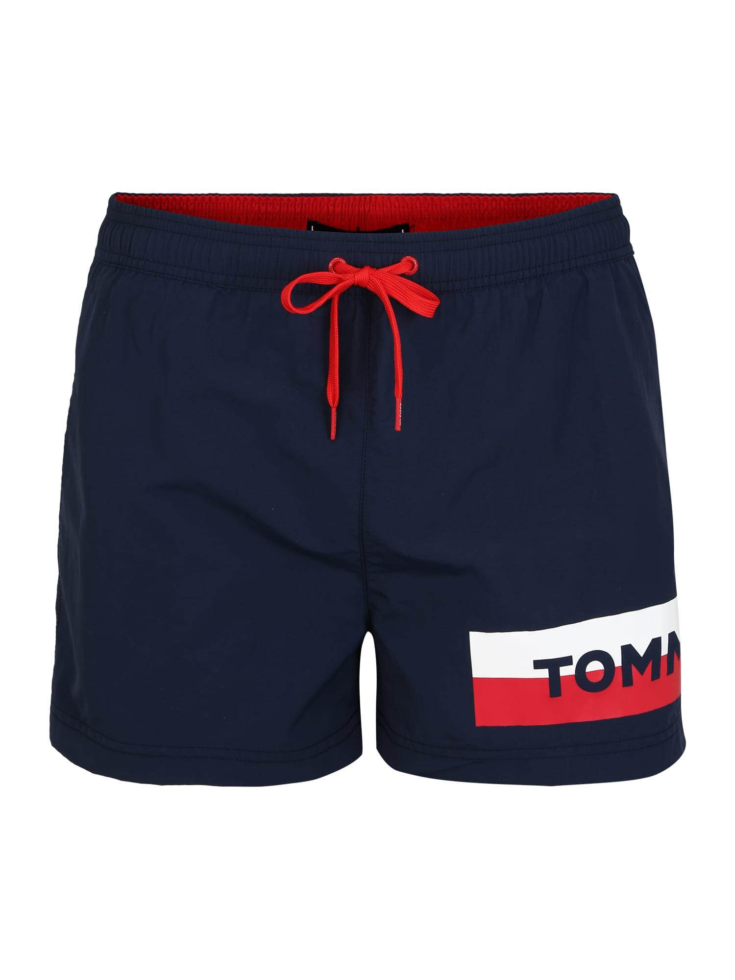 Tommy Hilfiger Underwear Maudymosi trumpikės mėlyna / ryškiai raudona / balta
