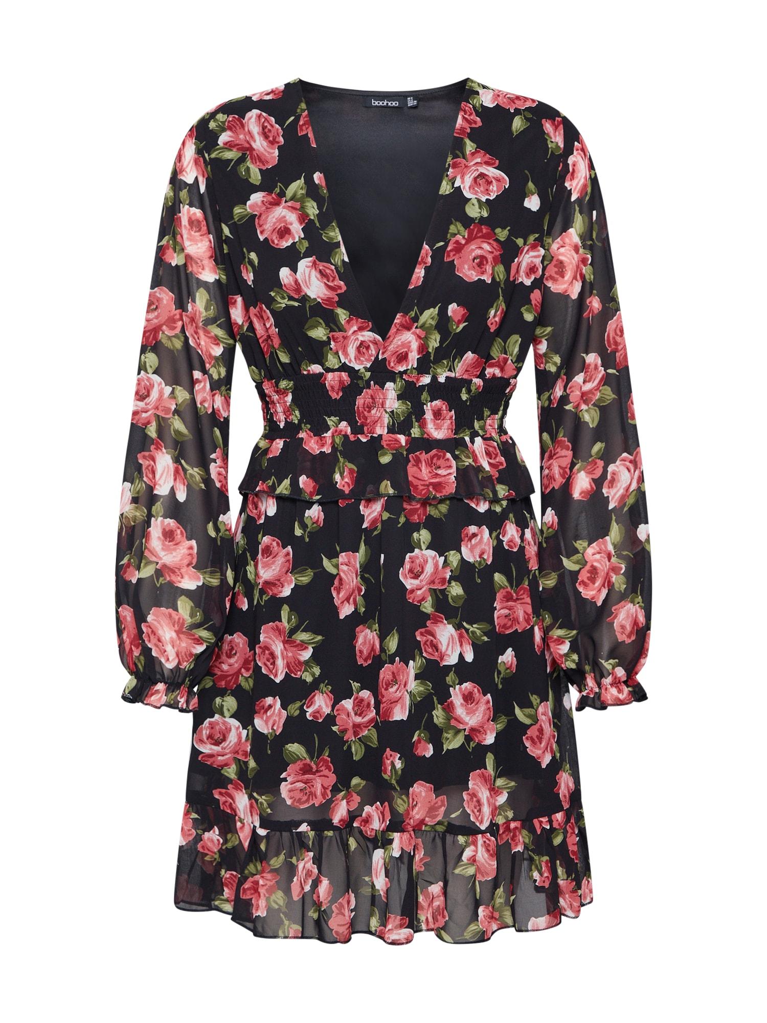 Boohoo Palaidinės tipo suknelė 'Floral Plunge ' raudona / juoda