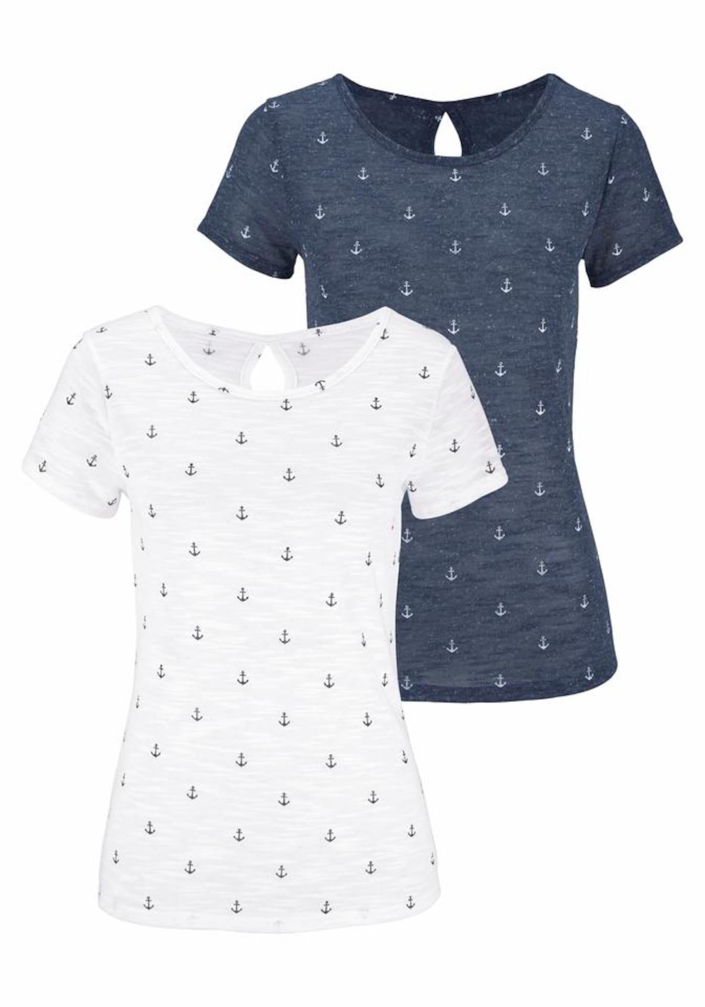 BEACH TIME Marškinėliai tamsiai mėlyna jūros spalva / balta