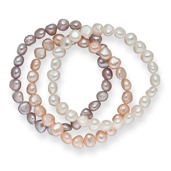 Armbaender für Frauen - Valero Pearls Armband mit Süßwasserzuchtperlen 3er Set flieder apricot weiß  - Onlineshop ABOUT YOU