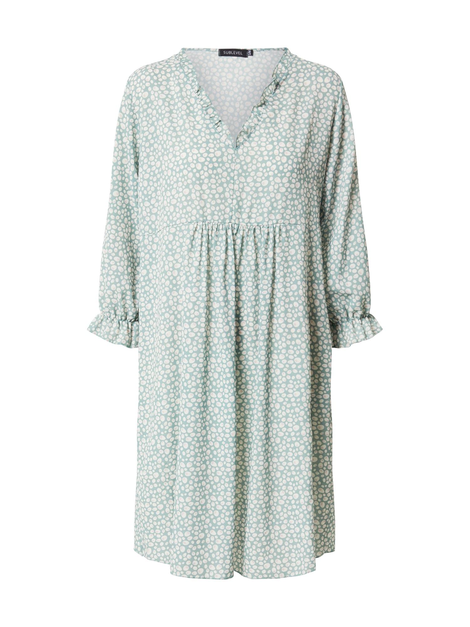 Sublevel Suknelė pastelinė žalia / balta / kūno spalva