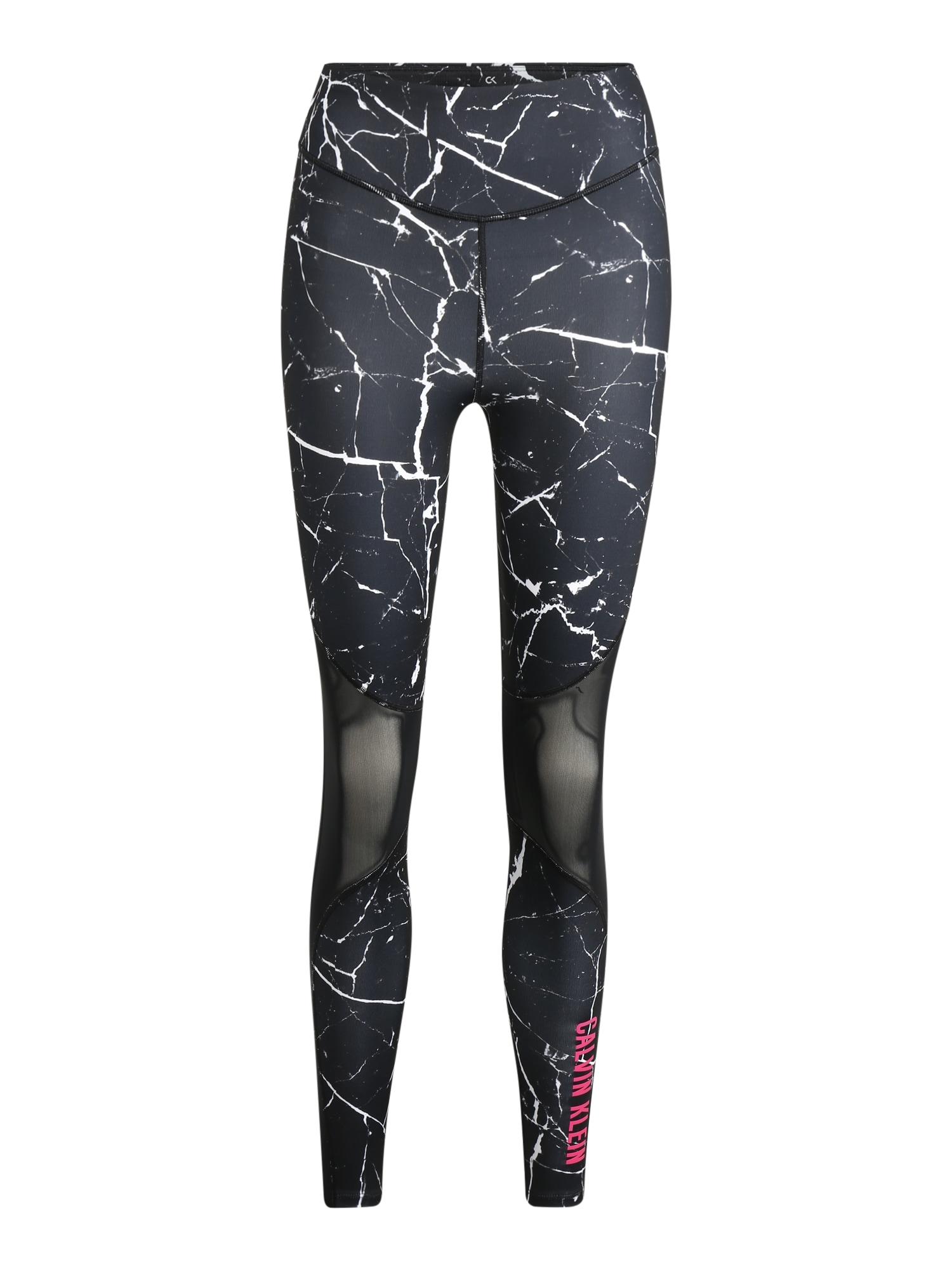 Calvin Klein Performance Sportinės kelnės balta / juoda
