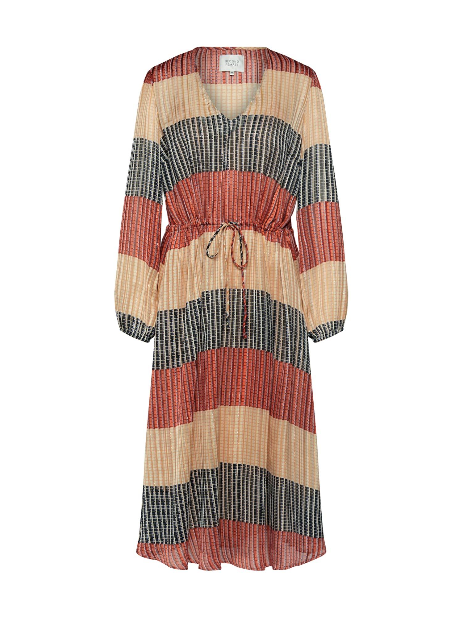 SECOND FEMALE Vasarinė suknelė alyvuogių spalva / raudona / smėlio