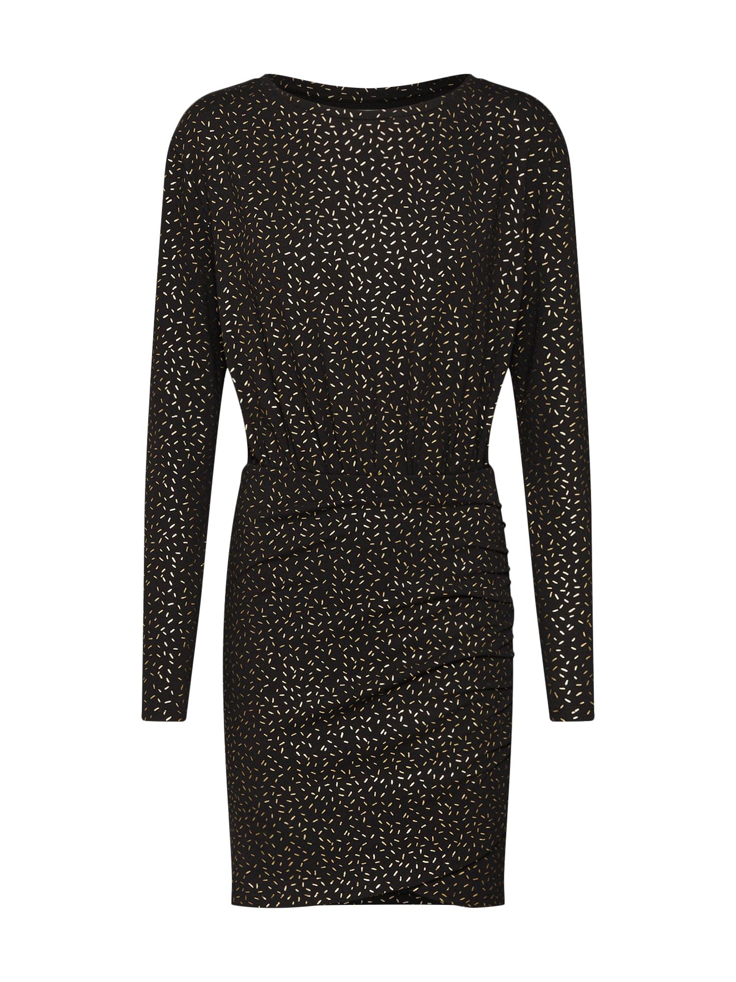 Šaty long sleeved body con zlatá černá Mint&berry