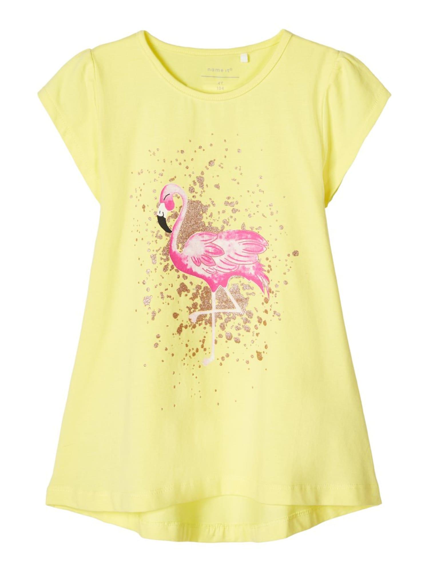 NAME IT Marškinėliai 'NMFHAYE CAPSL TUNIC CAMP' rožinė / geltona