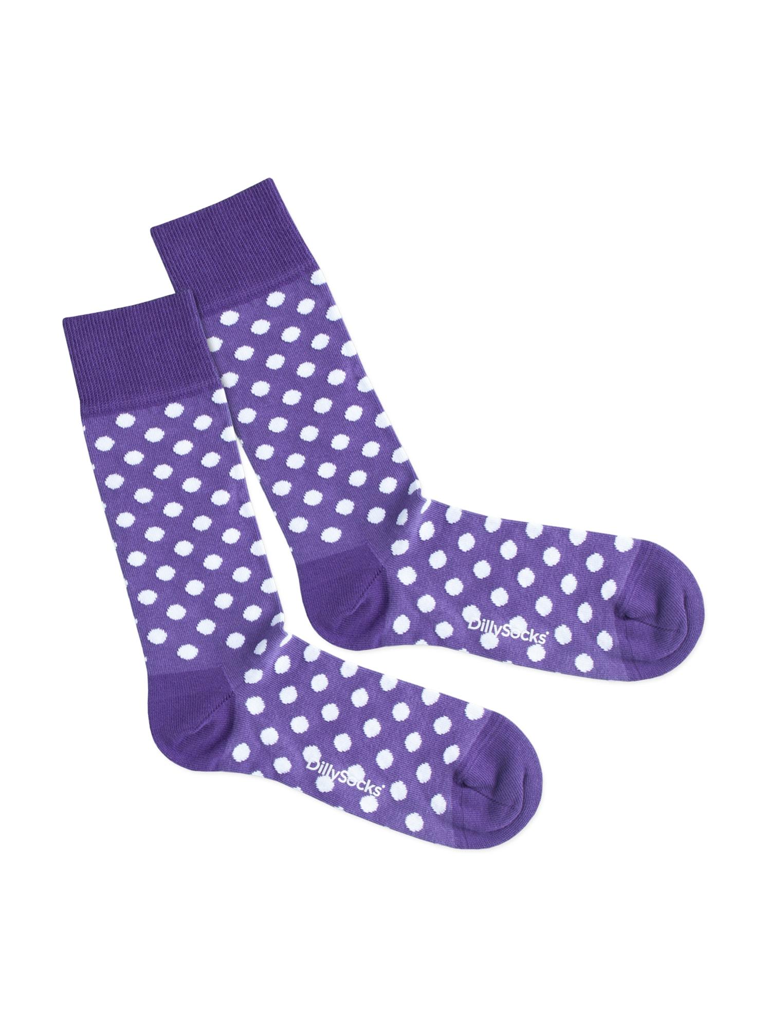 DillySocks Kojinės 'Purple Dots' purpurinė / balta