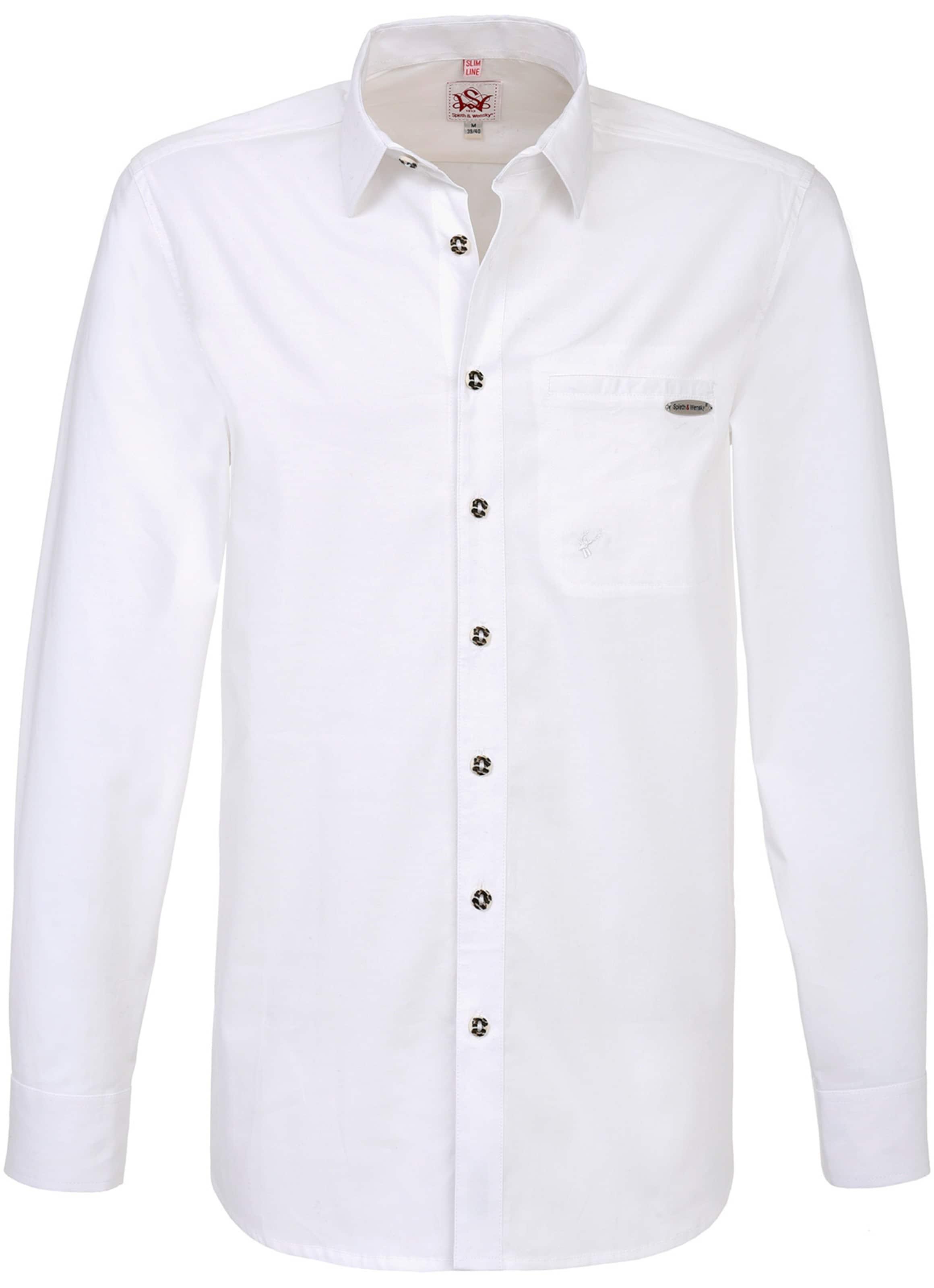 Herren SPIETH & WENSKY Trachtenhemd 'Fischen' weiß | 04057218984475