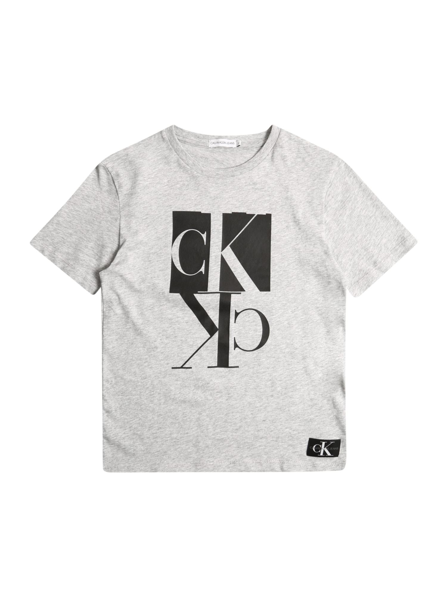 Calvin Klein Jeans Tričko 'MIRROR'  sivá melírovaná