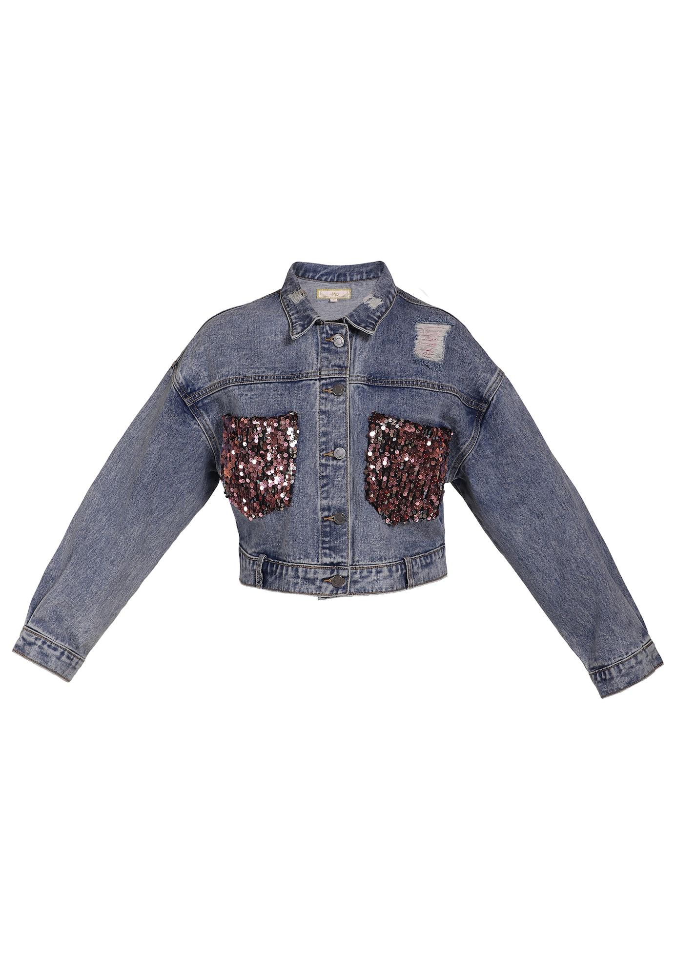 MYMO Demisezoninė striukė tamsiai (džinso) mėlyna / rožinio aukso spalva