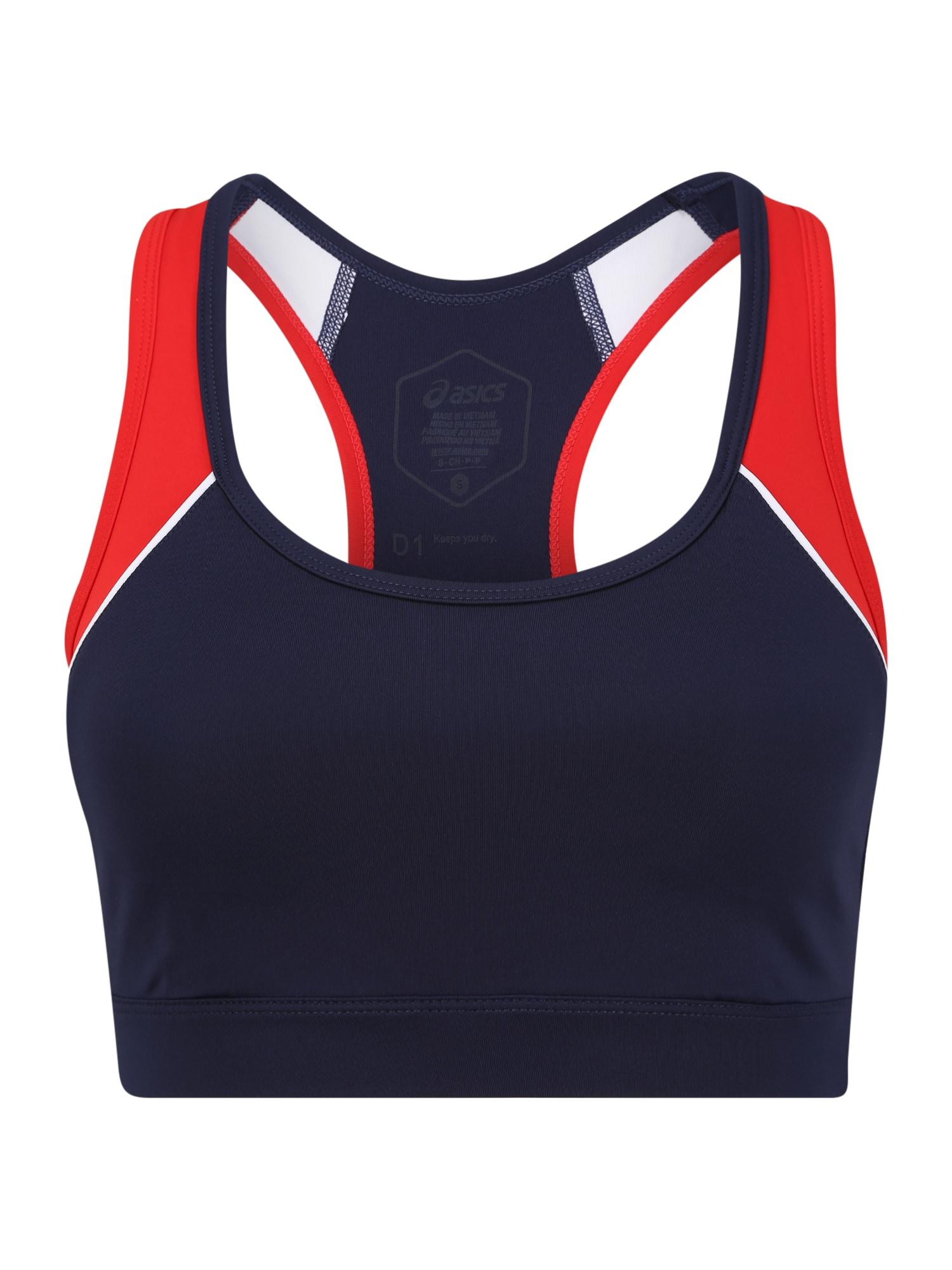 ASICS Sportinė liemenėlė balta / raudona / tamsiai mėlyna