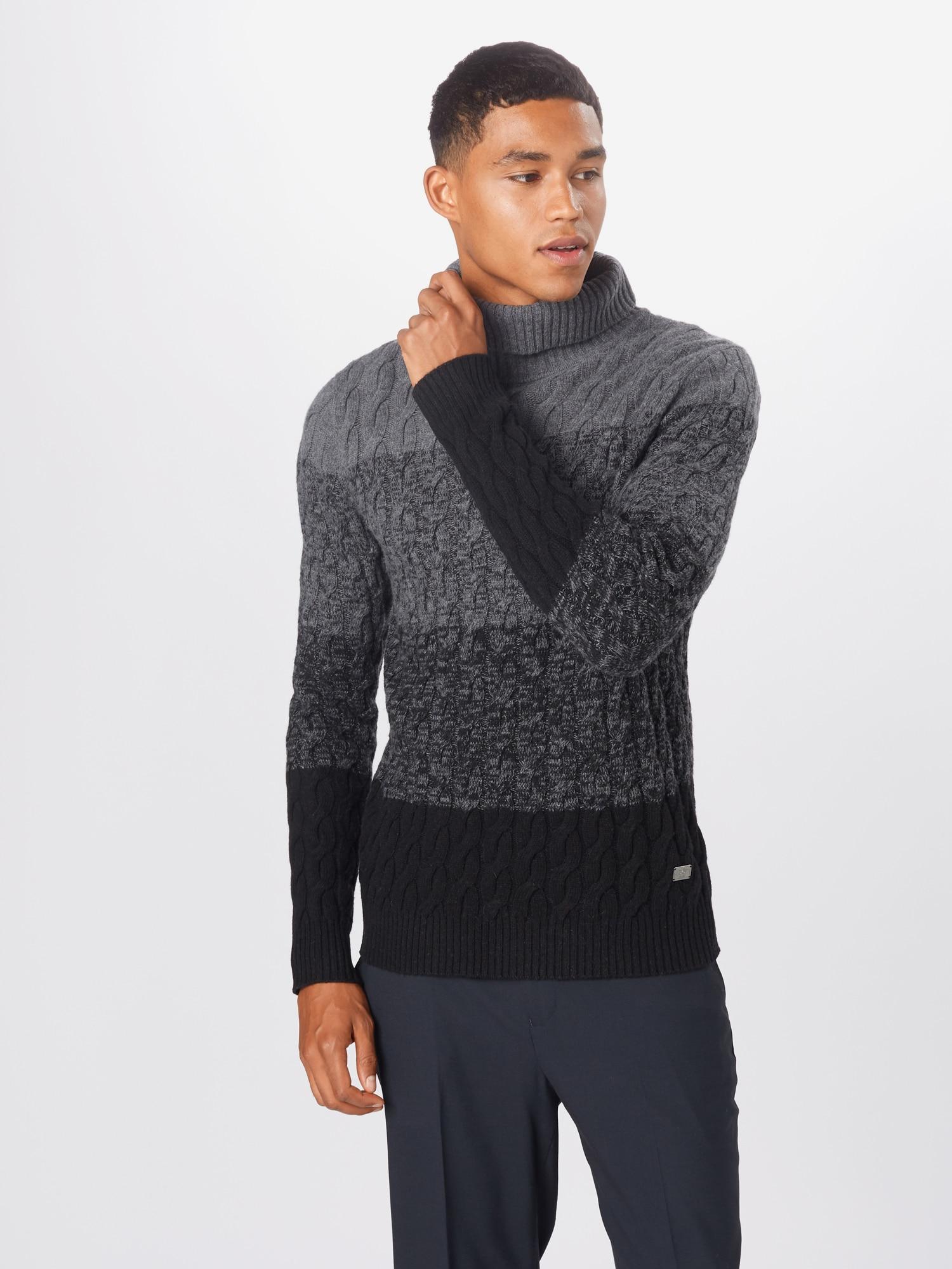 JOOP! Jeans Tröja 'Lumos'  svart / gråmelerad / mörkgrå