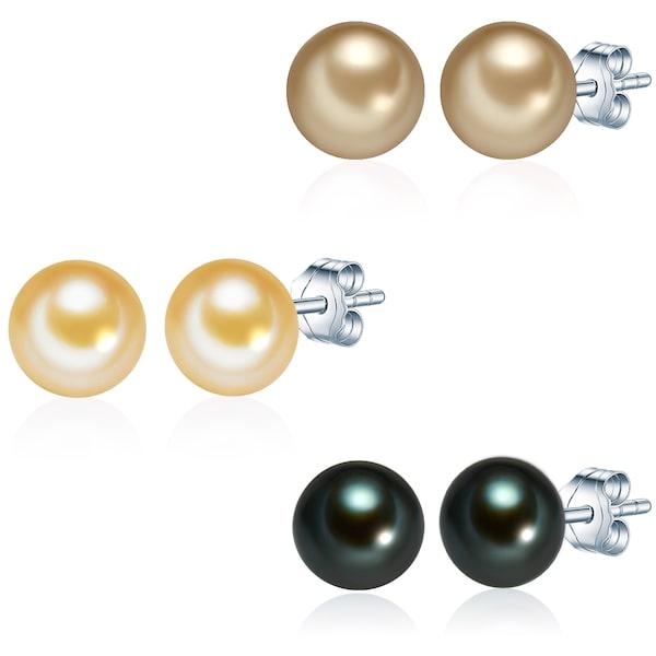 Ohrringe für Frauen - Valero Pearls Silberohrstecker mit Süßwasser Zuchtperlen (3 er Set) beige tanne  - Onlineshop ABOUT YOU