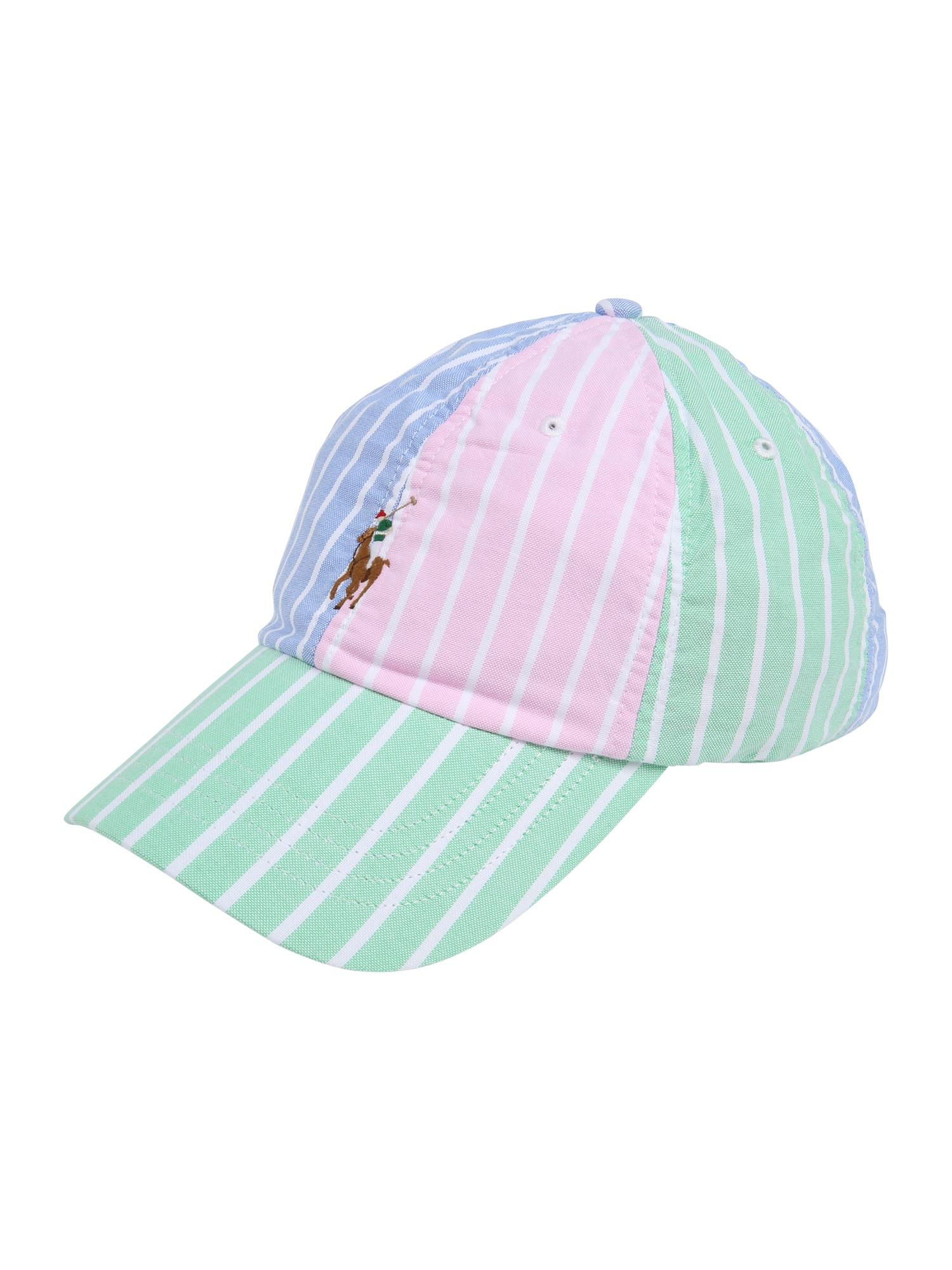 POLO RALPH LAUREN Kepurė 'CLASSIC SPORT CAP W/ SMALL PP' rožių spalva / šviesiai žalia / šviesiai mėlyna