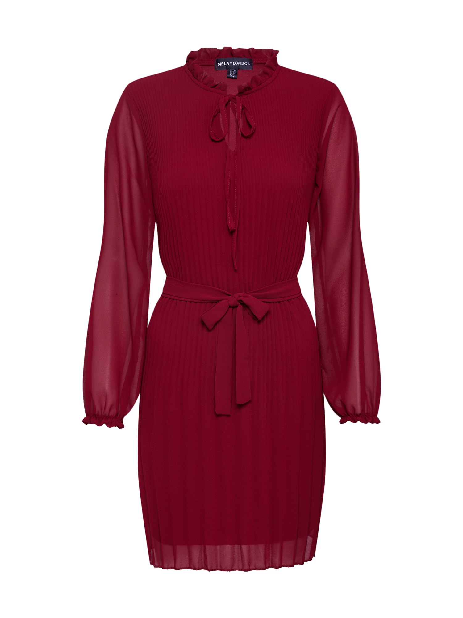 Mela London Suknelė 'LONG SLEEVE PLEATED BELTED DRESS' raudona