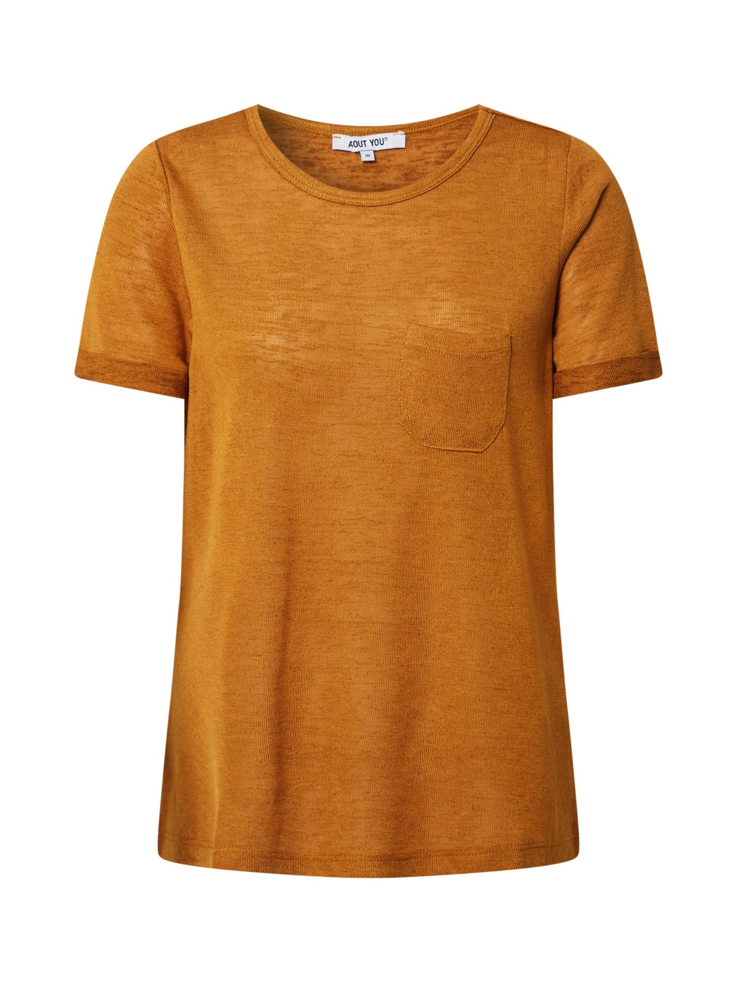 ABOUT YOU Marškinėliai 'Christin' garstyčių spalva