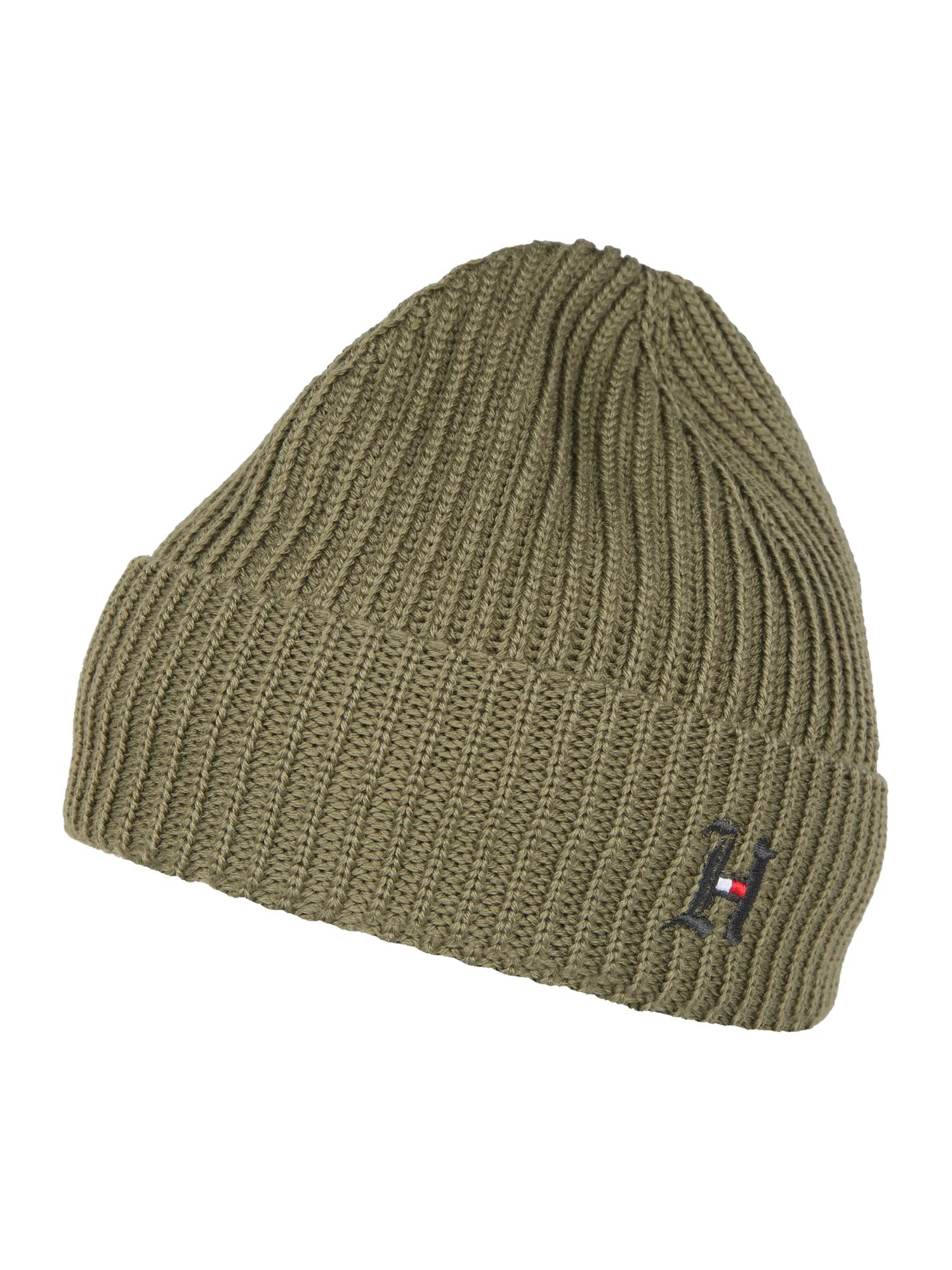 TOMMY HILFIGER Megzta kepurė 'Beanie' alyvuogių spalva