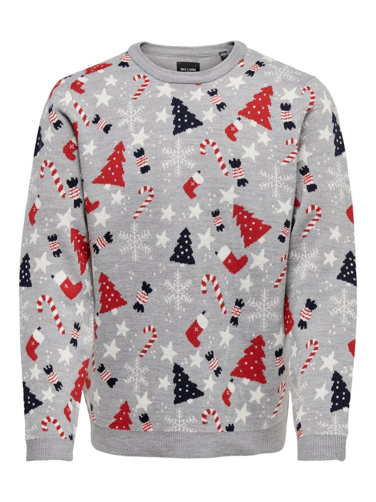 Only & Sons Megztinis 'Christmas' mišrios spalvos / margai pilka