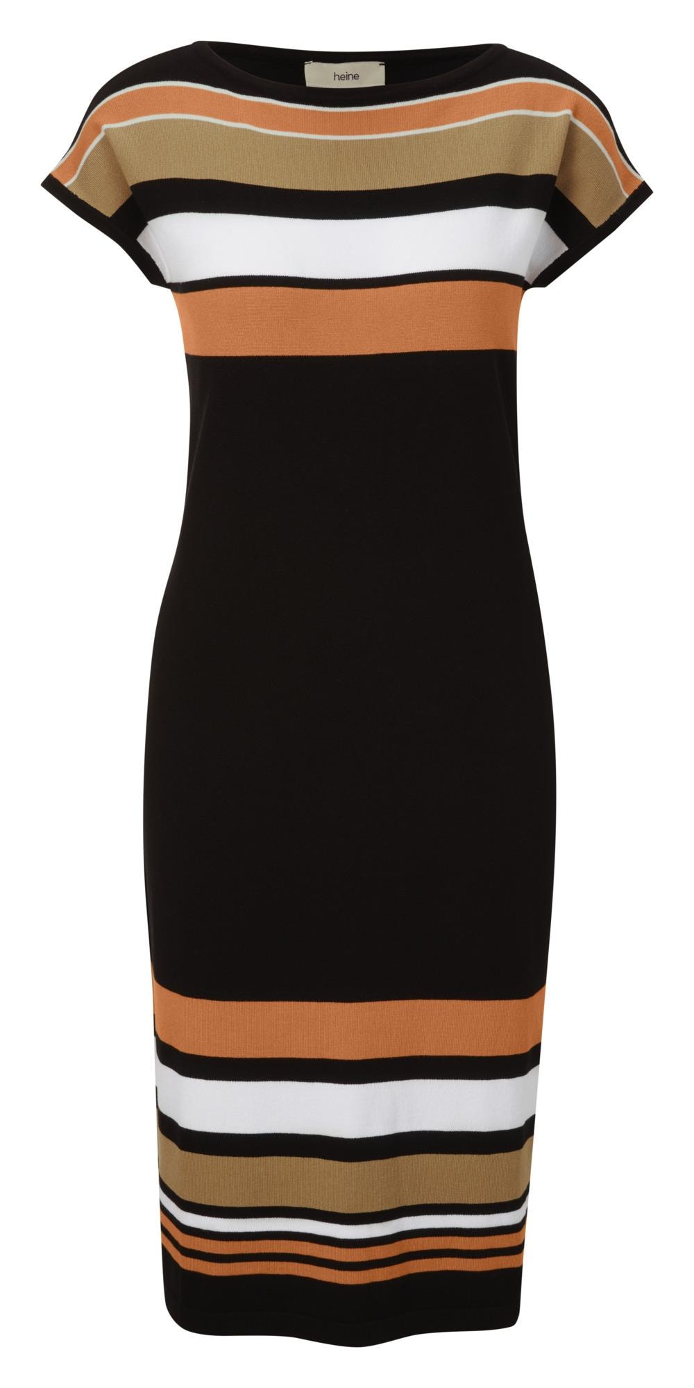 heine Megzta suknelė juoda / balta / ruda / oranžinė