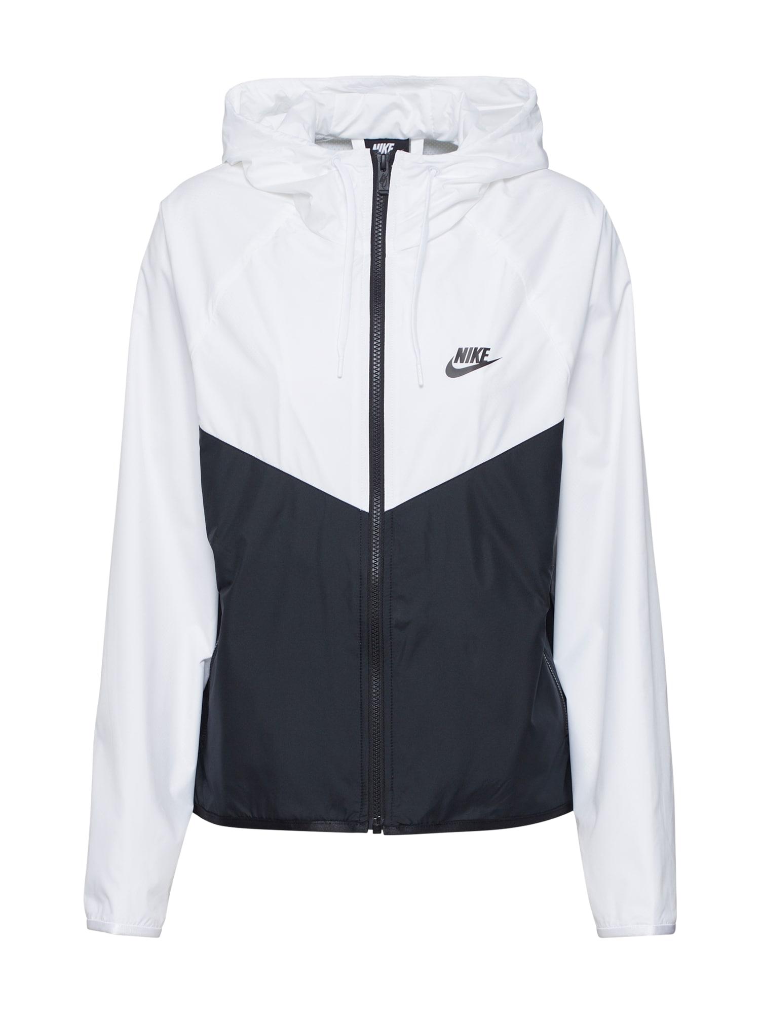 Nike Sportswear Demisezoninė striukė balta / juoda