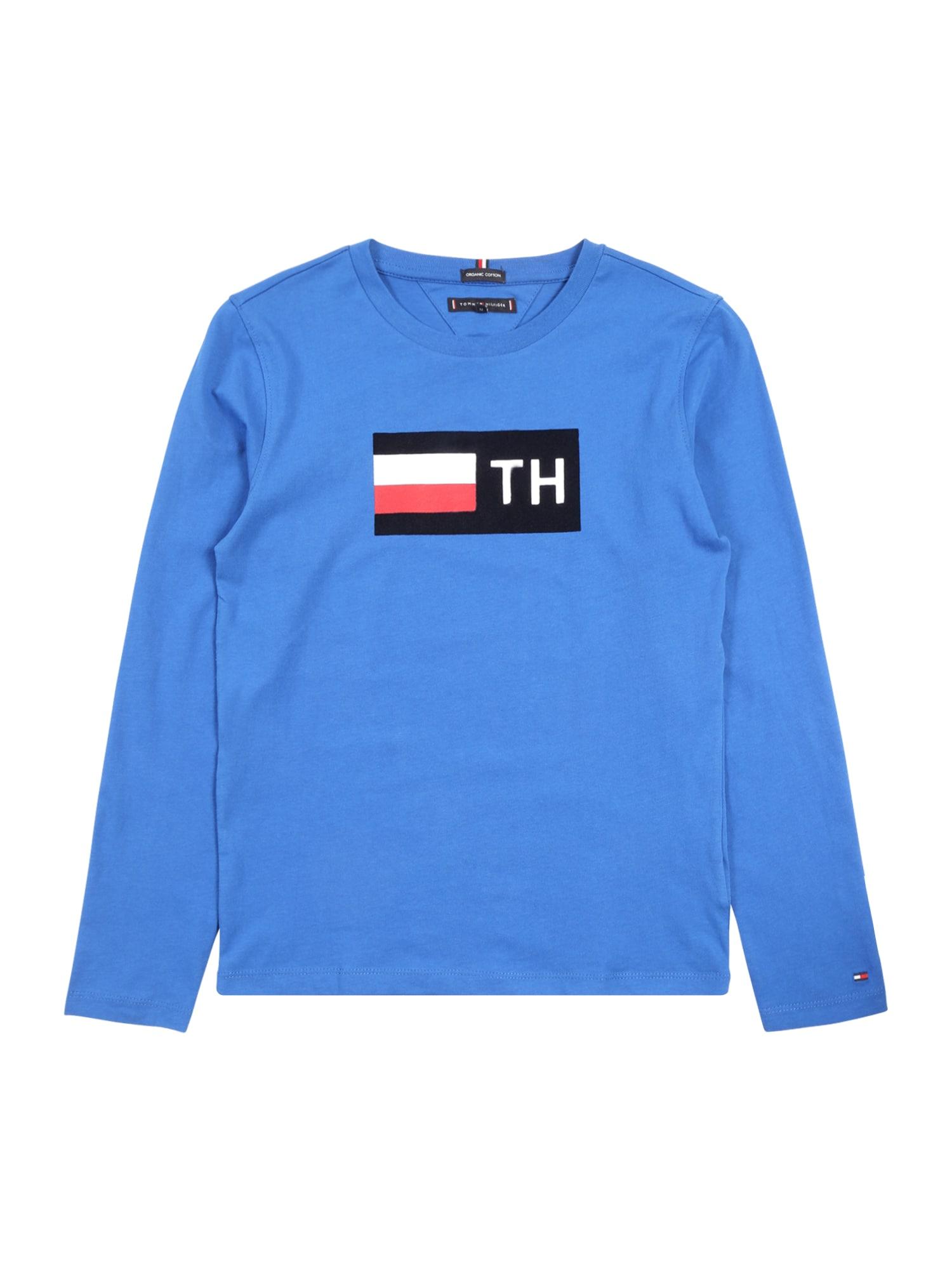 Jungen,  Kinder,  Kinder Tommy Hilfiger Shirt 'TH FLOCK L/S TEE' blau,  rot,  weiß | 08719859054288